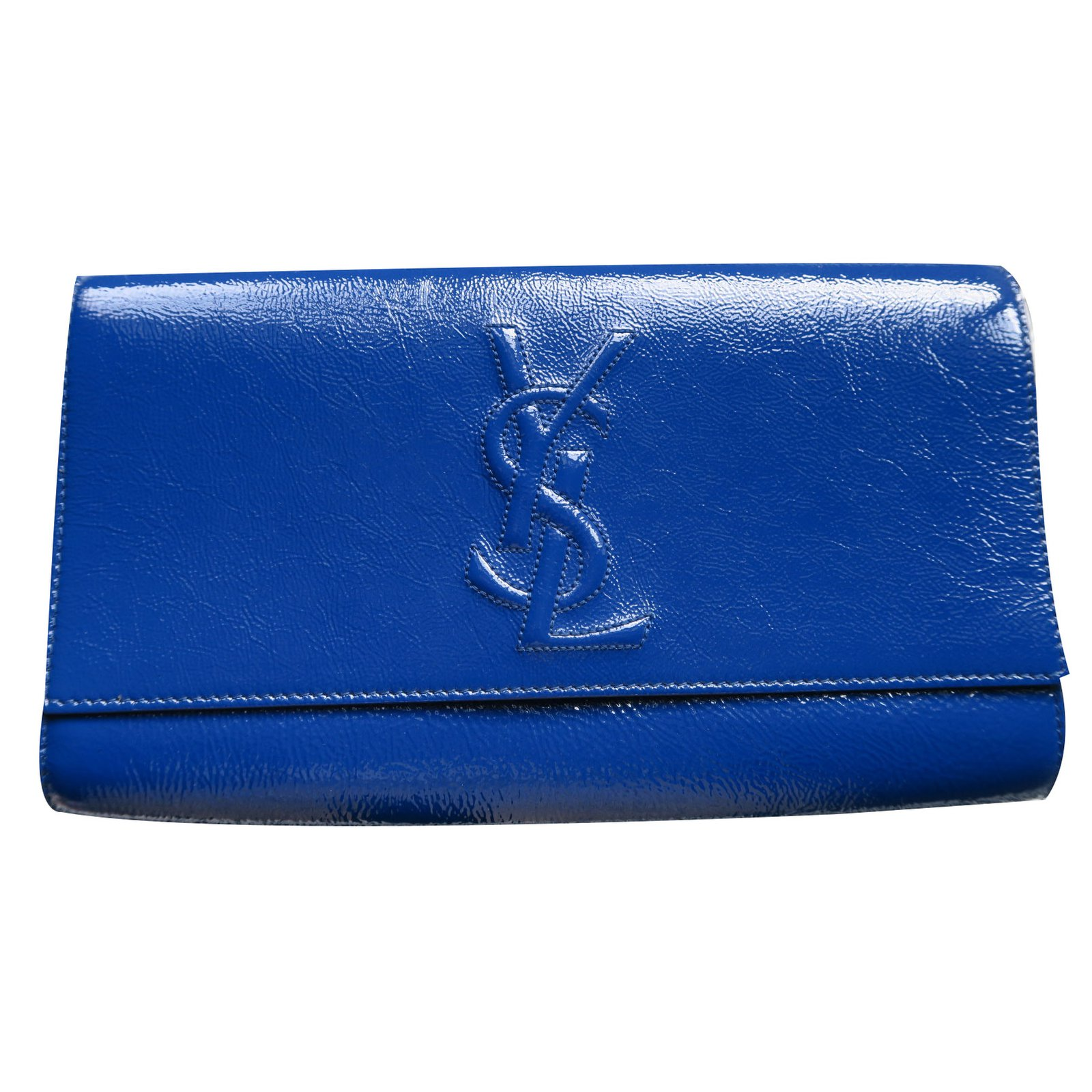 c226adfceb Yves Saint Laurent Clutch bags Clutch bags Patent leather Blue ref.19318