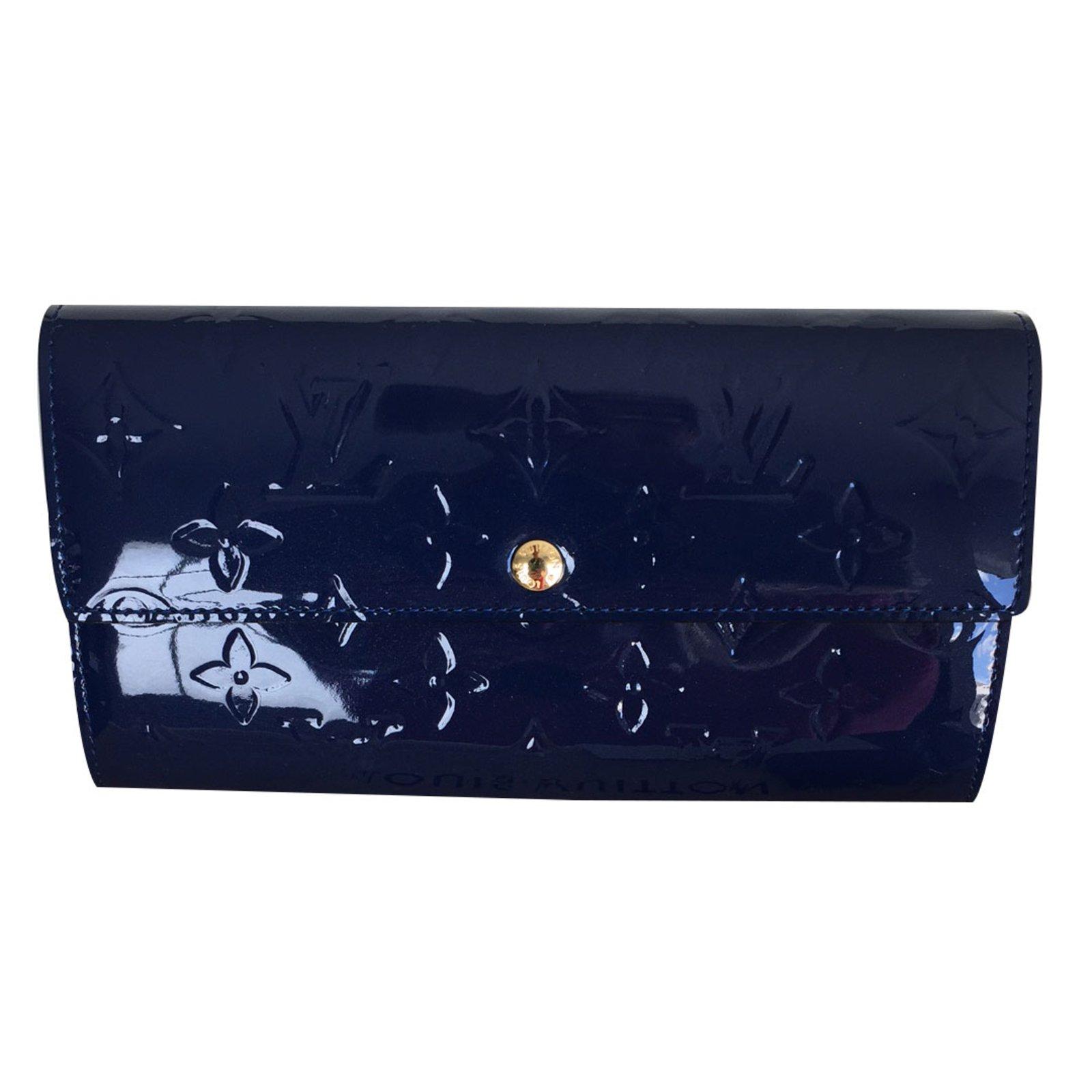 Portefeuilles Louis Vuitton Portefeuille Sarah cuir verni Grand bleu Cuir  vernis Bleu ref.19501 ec88a883c1b