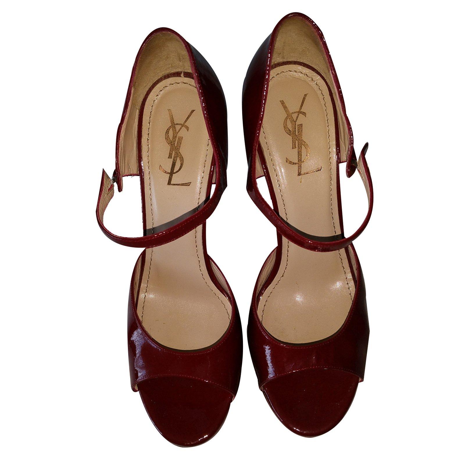 4aba08b8e442d Yves Saint Laurent Heels Heels Patent leather Dark red ref.20112 ...