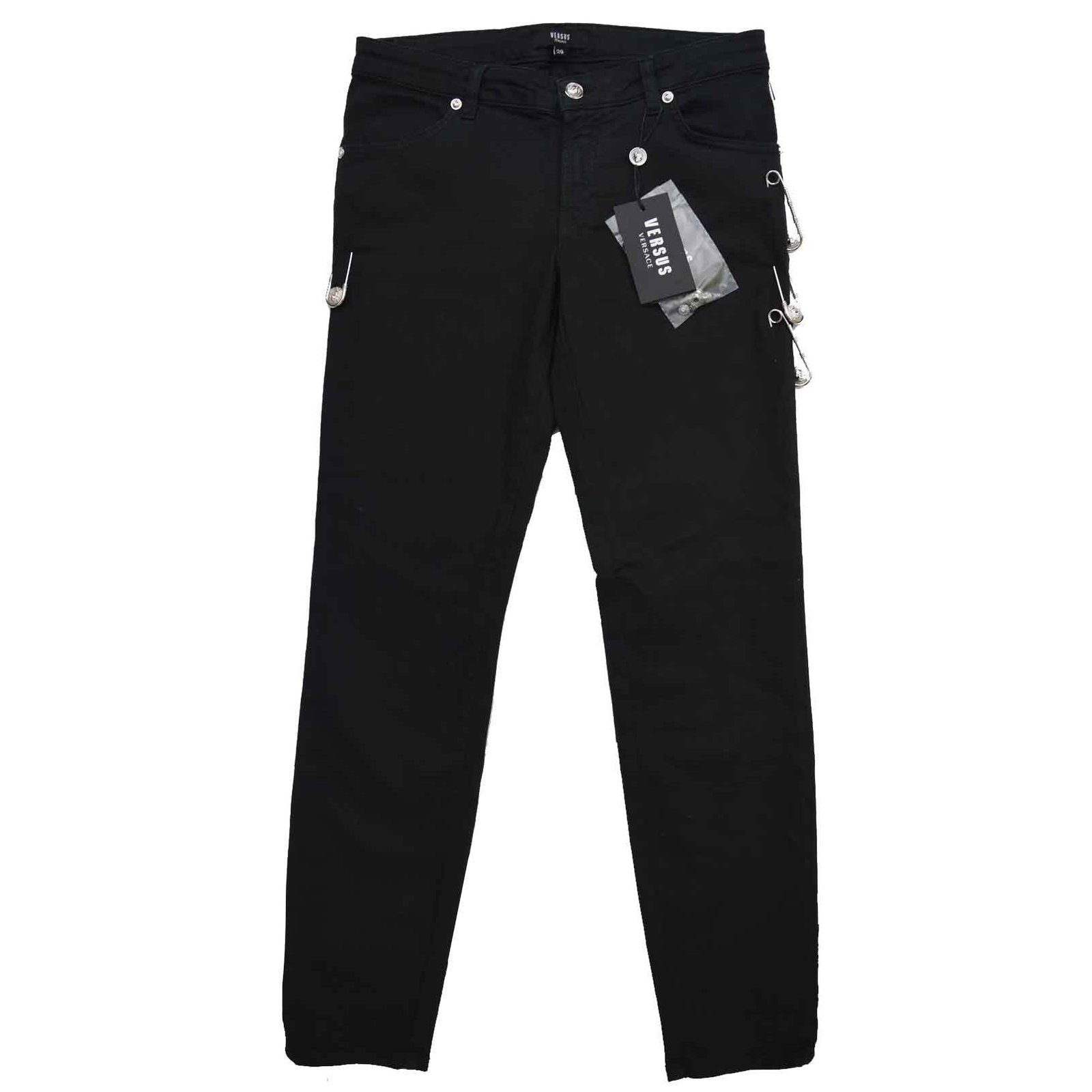 Versace Versus Versace Safety Pin Black Stretched Skinny Jeans ...