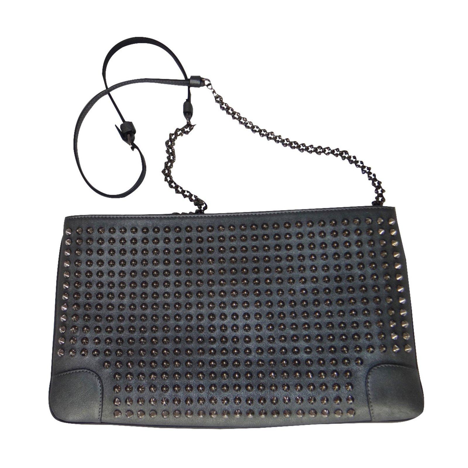 Louboutin Loubiposh Studded Leather Bag Handbags Metallic Ref 20369