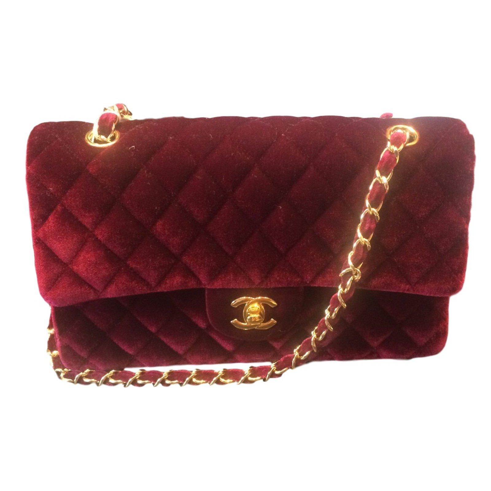 e4f30c0f8 Chanel Timeless velvet bordeaux Handbags Velvet Dark red ref.20390 ...