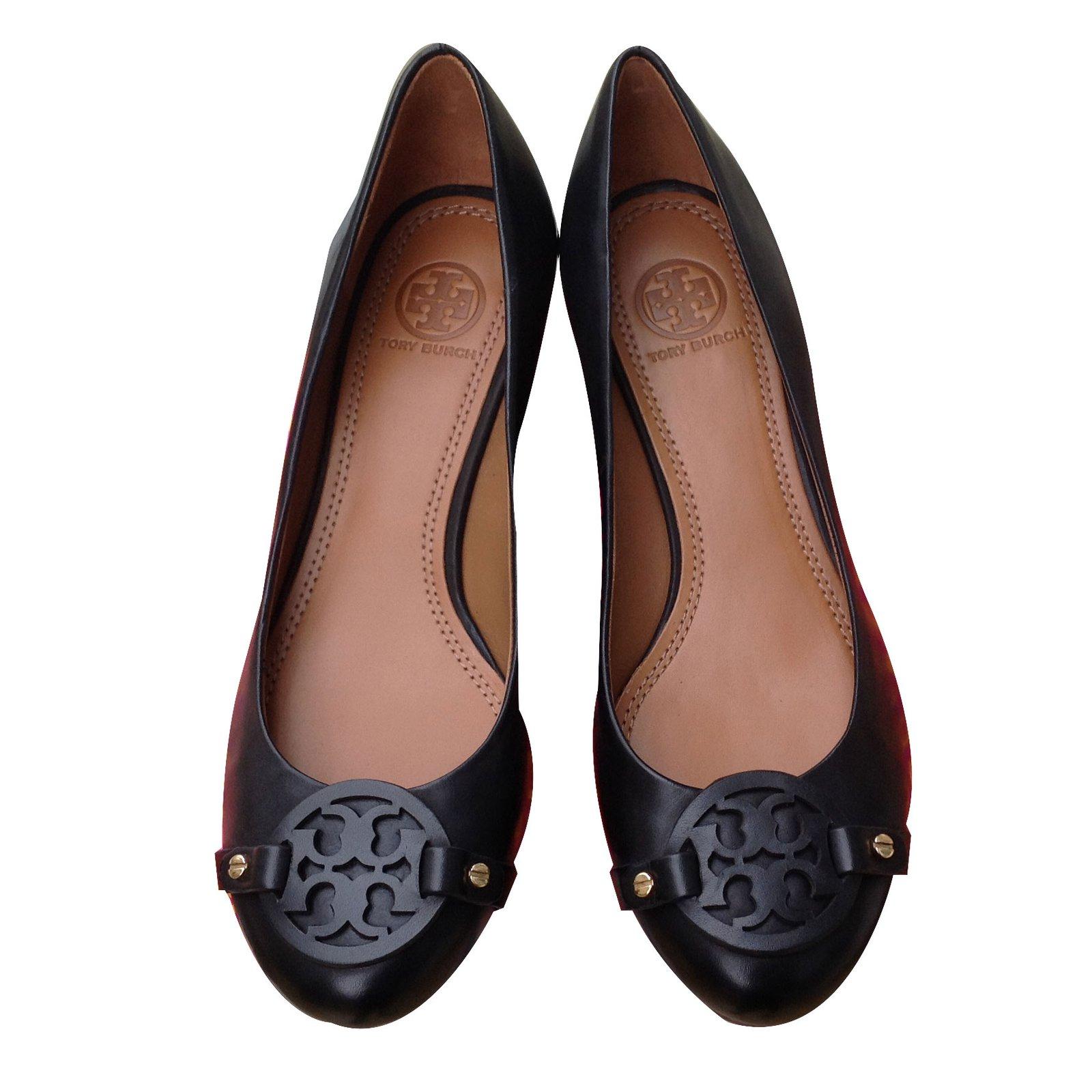6eb857e1e Tory Burch Ballerinas Wedge mules Leather Black ref.20471 - Joli Closet