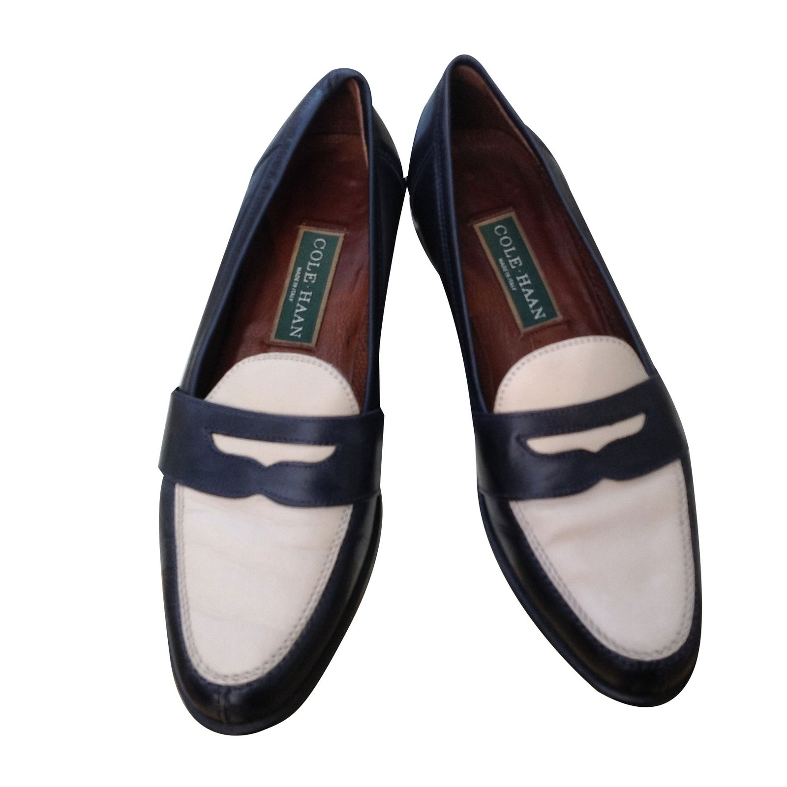 b8ec7db98a5d2 COLE HAAN Black & White Bicolor Penny Loafer Flats