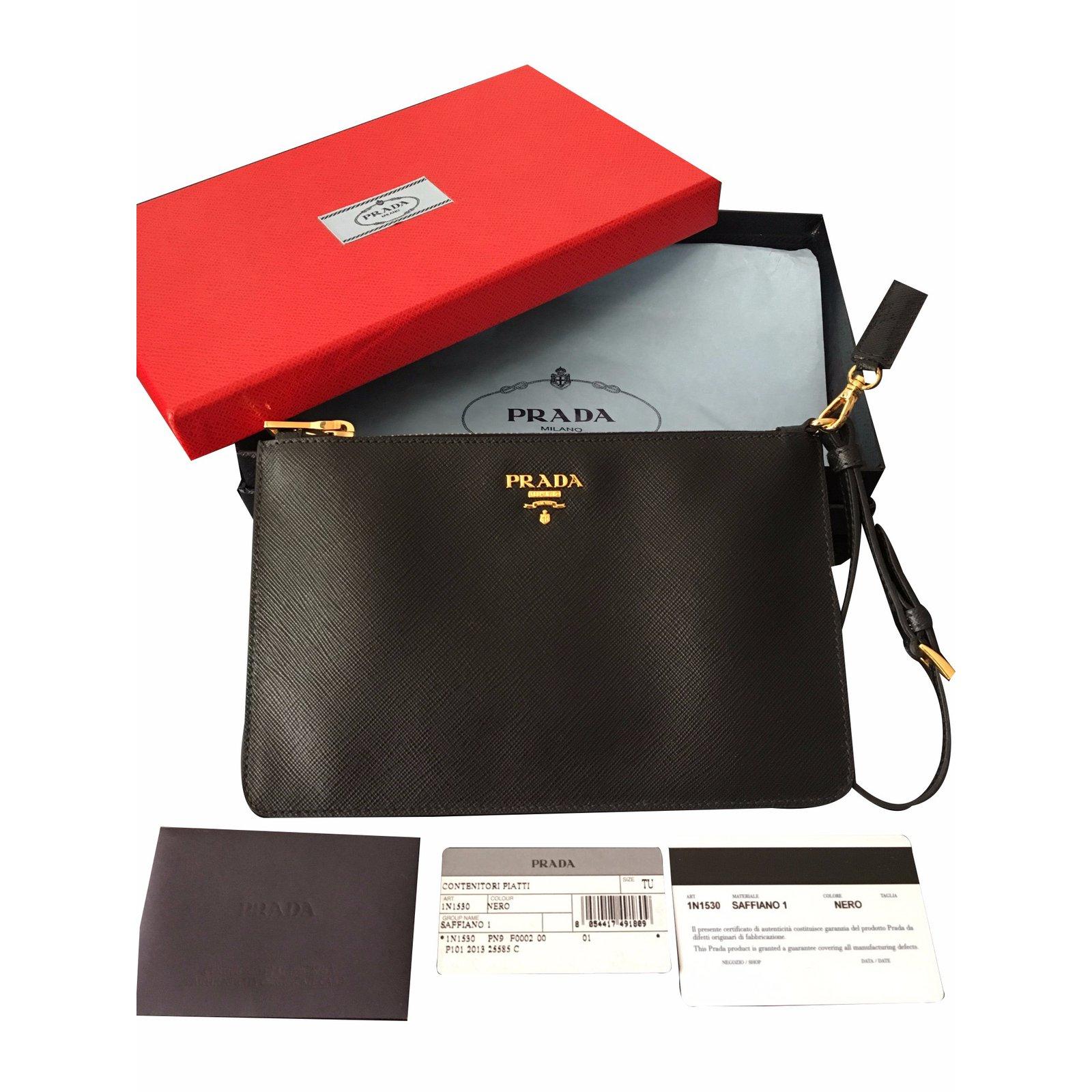 c799bc598d9d Prada Clutch Saffiano leather Clutch bags Leather Black ref.20834 ...