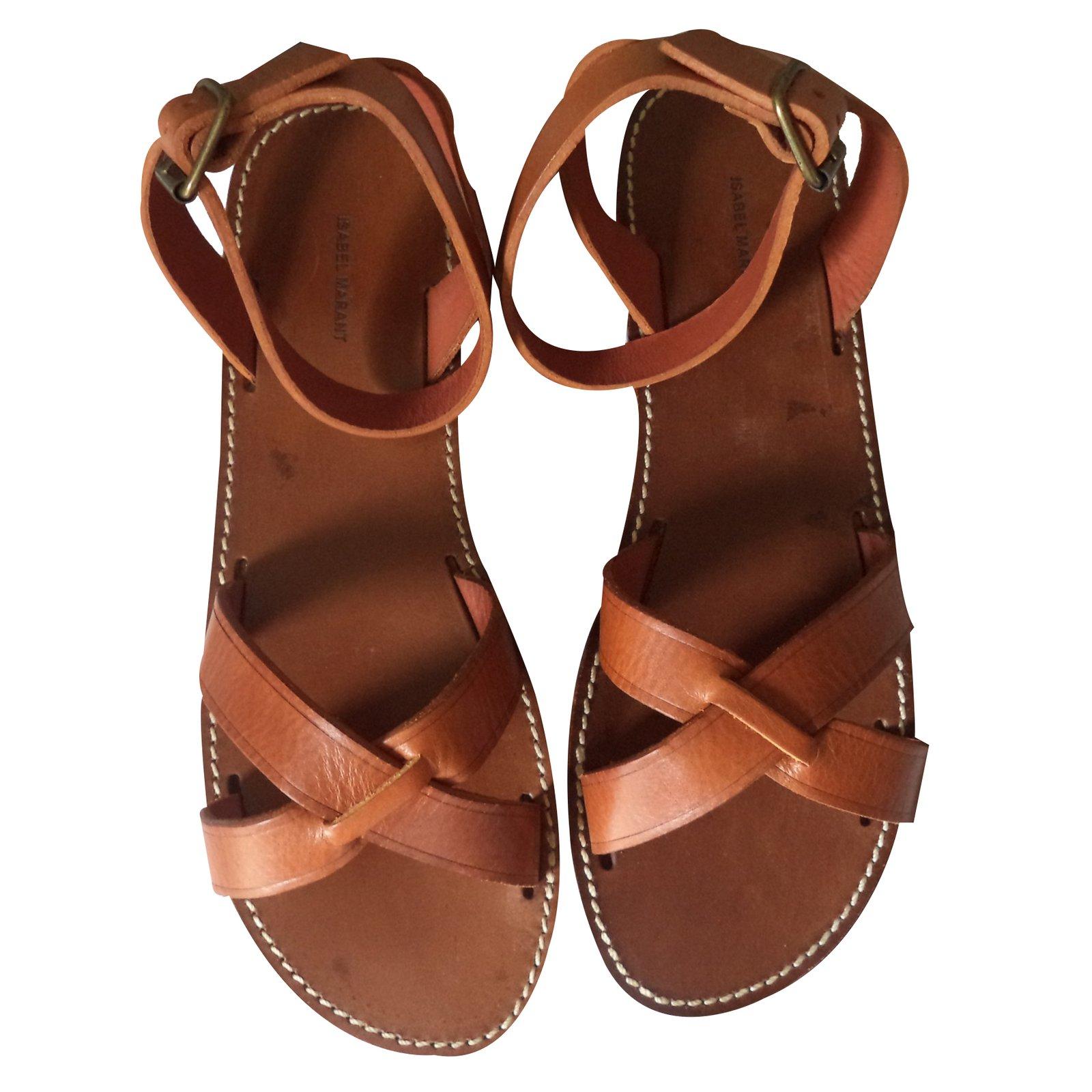 cc7b24d3a21f2 Isabel Marant MERRY Sandals Leather Cognac ref.21033 - Joli Closet