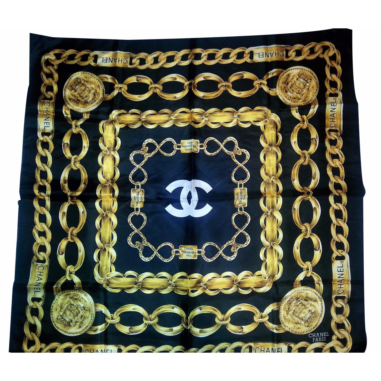 f3ce921f83d Chanel Silk scarf Silk scarves Silk Black ref.21077 - Joli Closet