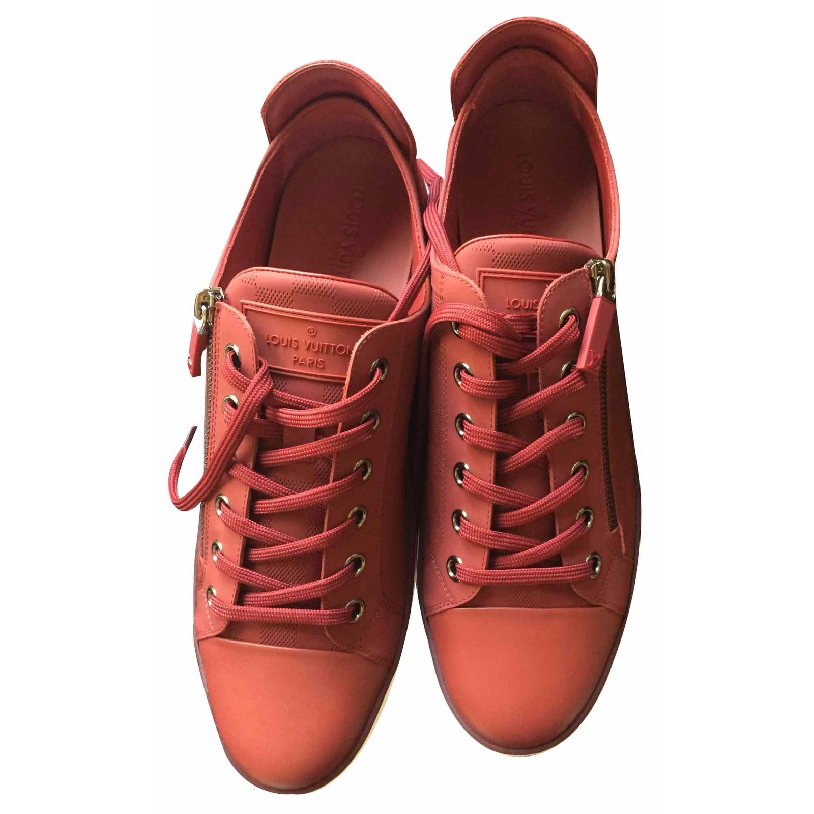 Baskets homme Louis Vuitton Zip up sneaker Cuir Rouge ref.21172 ... f41aeaa5282