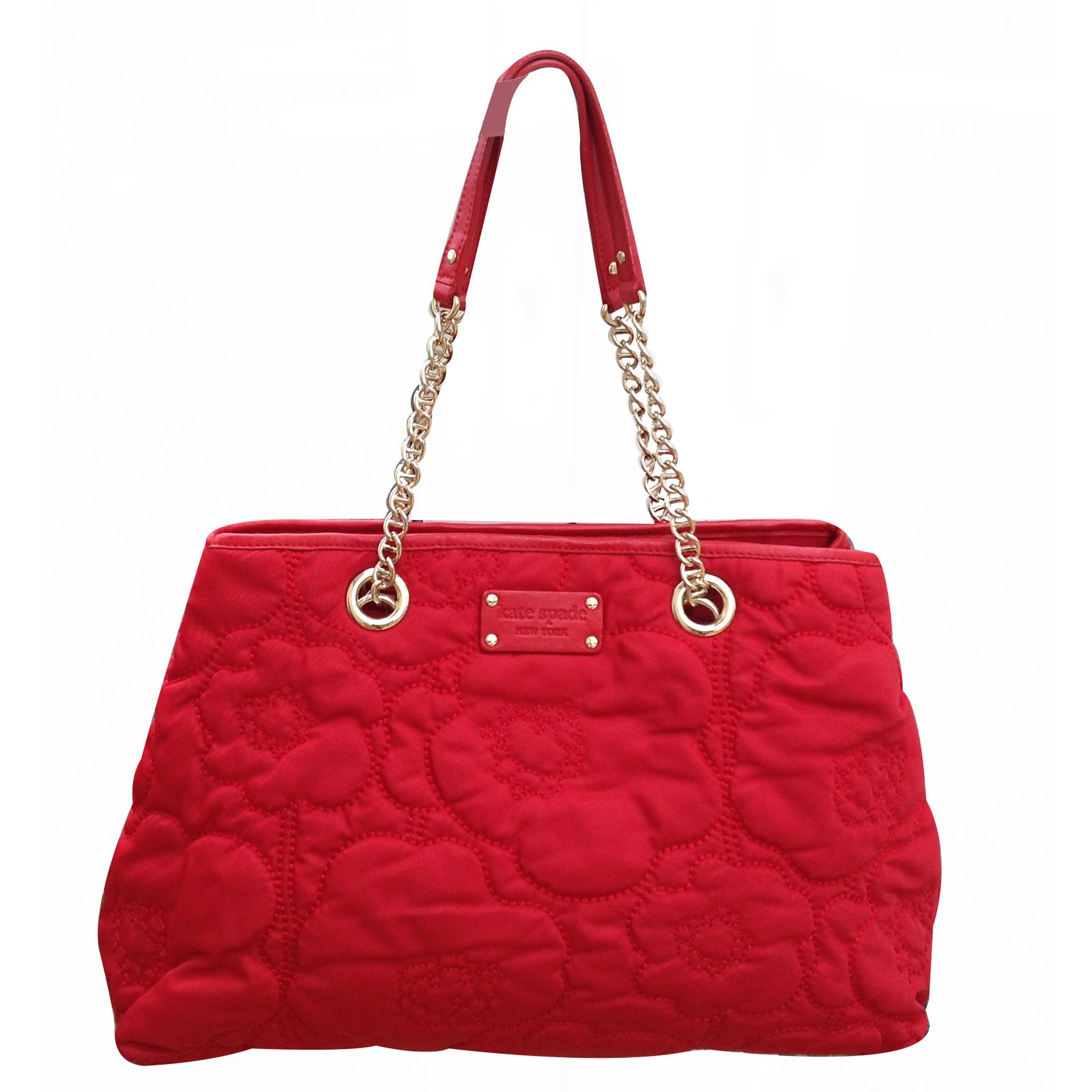 Kate Spade Cherry Floral Quilted Large Handbags Cloth Red ref ... : kate spade red quilted bag - Adamdwight.com