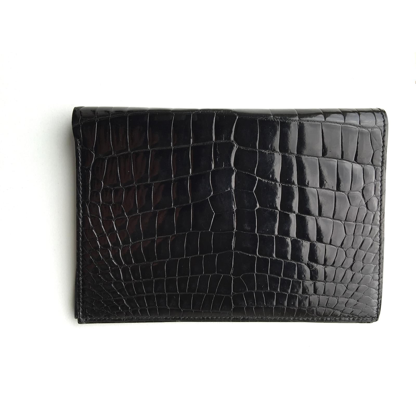 Petite maroquinerie homme Hermès Portefeuille Hermès Croco Noir Neuf Cuirs  exotiques Noir ref.21445 07eb4b8529c