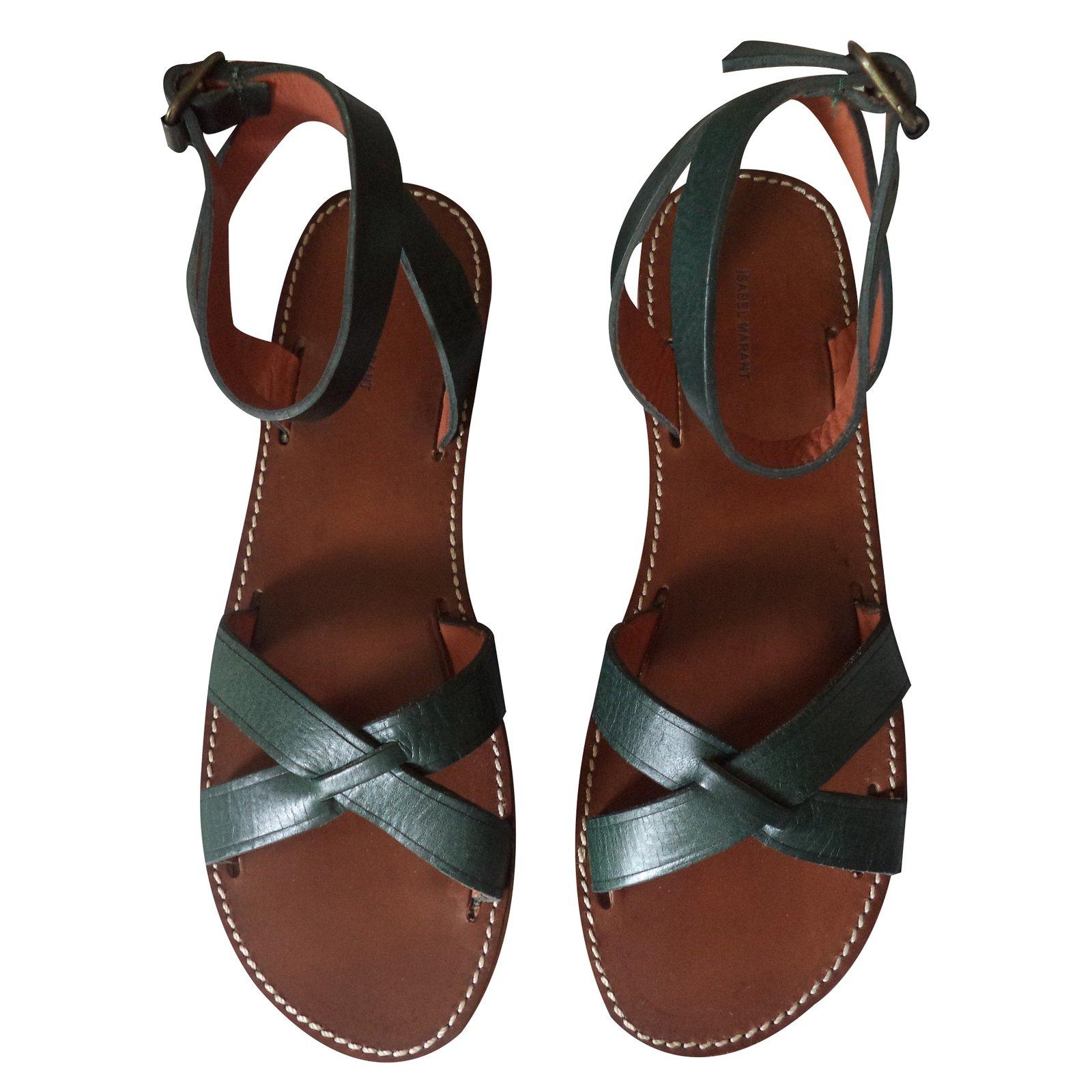 36c064307ea5c Isabel Marant MERRY Sandals Leather Green ref.21762 - Joli Closet