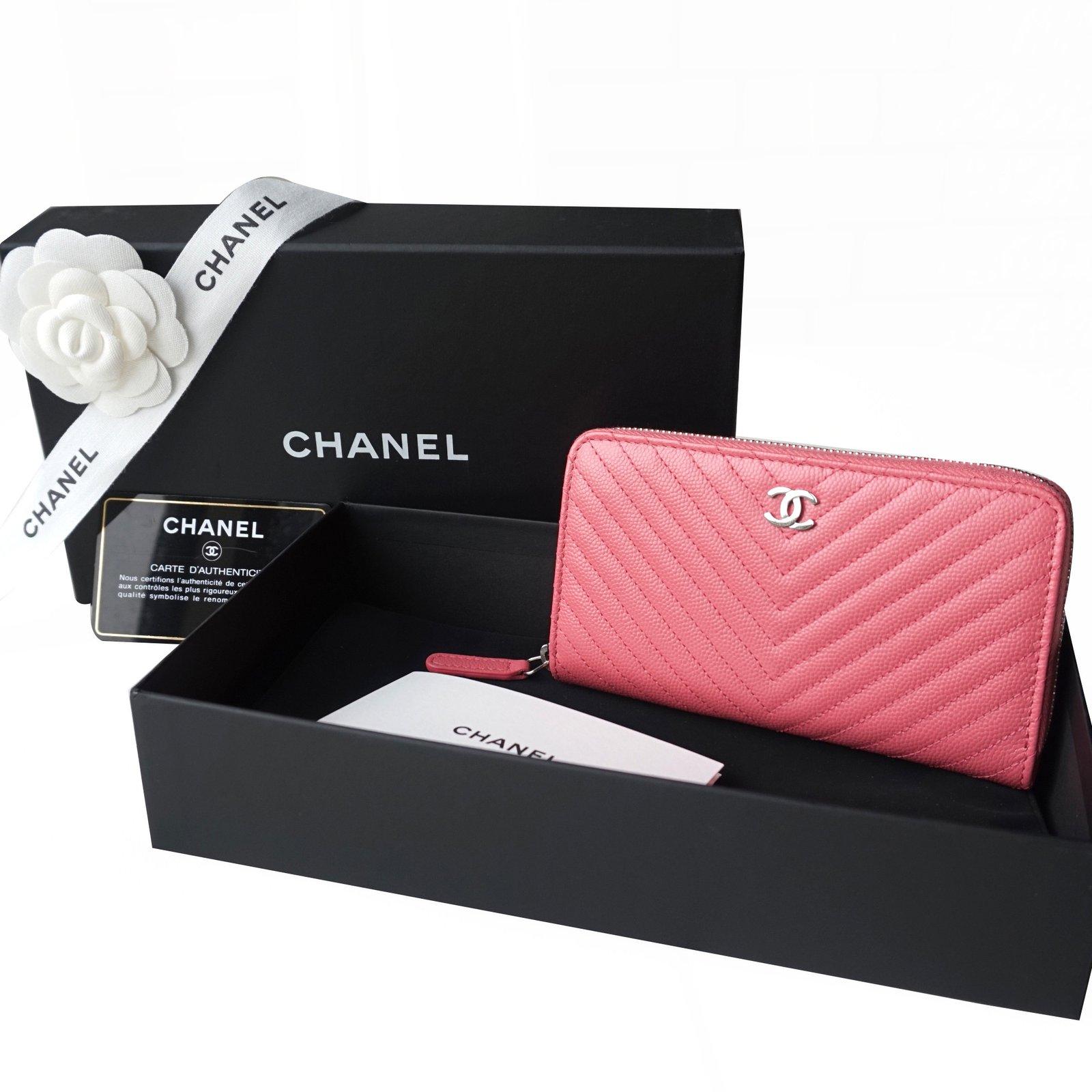 chanel zippy wallet wallets leather pink ref21784 joli