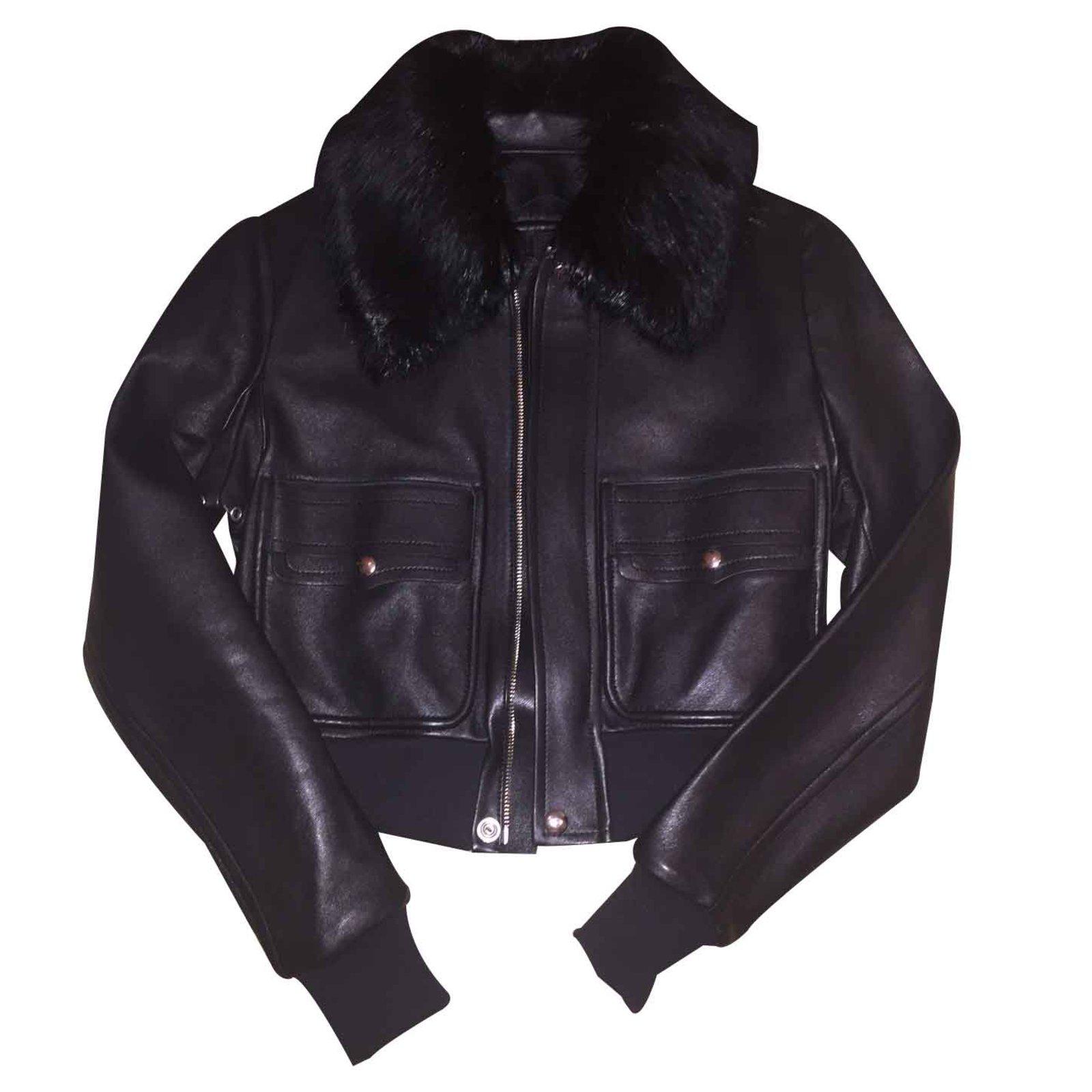 vestes givenchy veste en cuir et fourrure cuir noir ref. Black Bedroom Furniture Sets. Home Design Ideas
