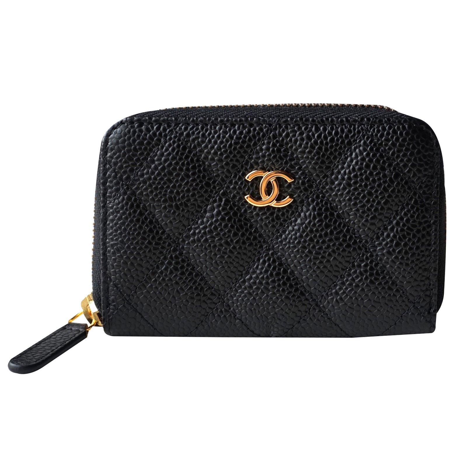 f05639c6e51c Chanel Card Holder Wallet Wallets Leather Black Ref 21971 Joli Closet
