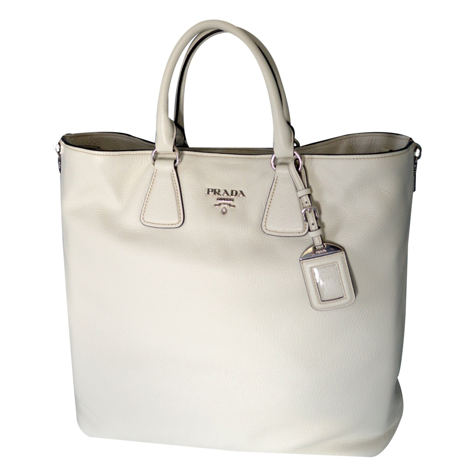Prada Prada vitello phenix talco textured leather shopping tote bag bn2419  original Handbags Leather White ref c5481335241c8