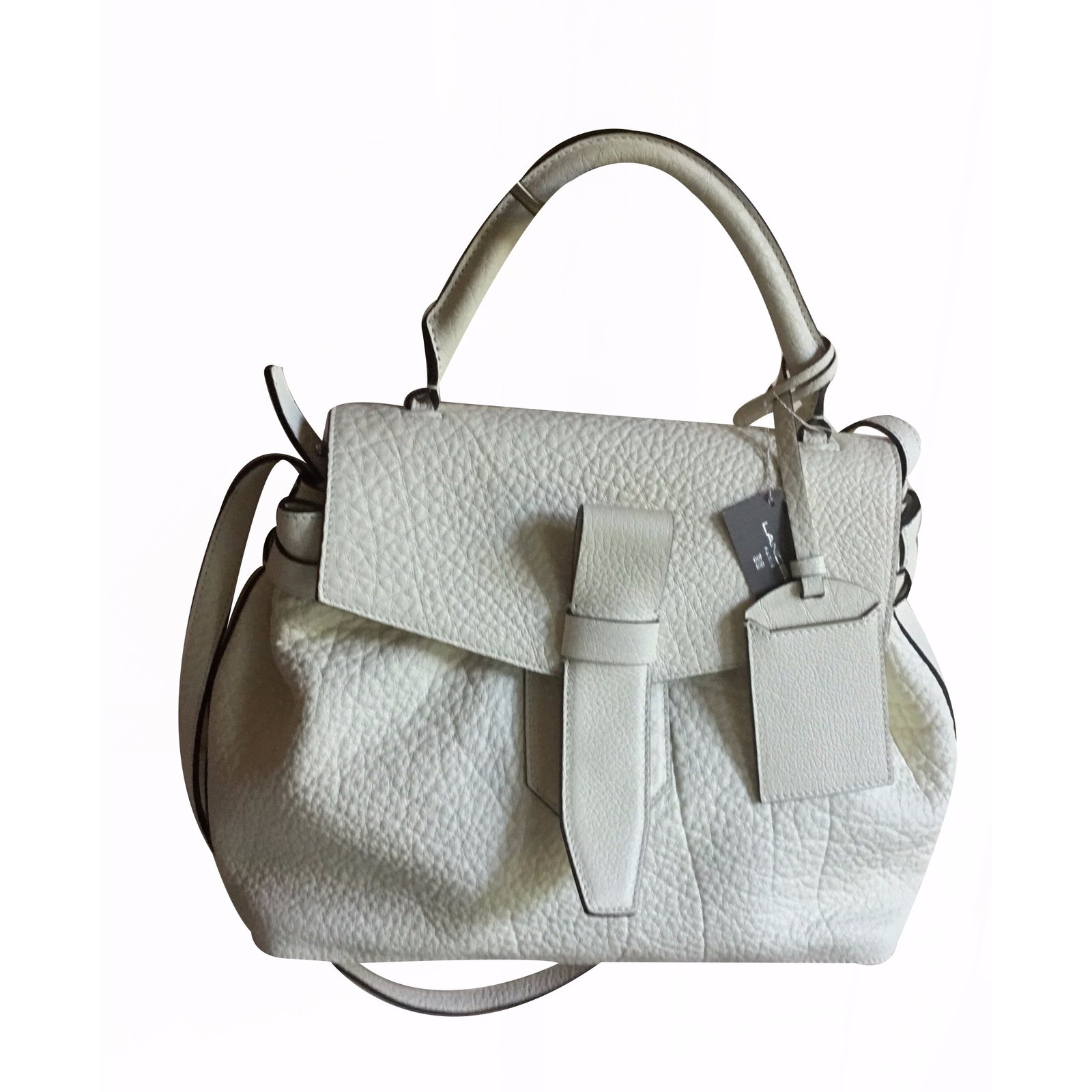 sacs main lancel sac lancel mod le charlie port main coloris alb tre cuir blanc cass ref. Black Bedroom Furniture Sets. Home Design Ideas