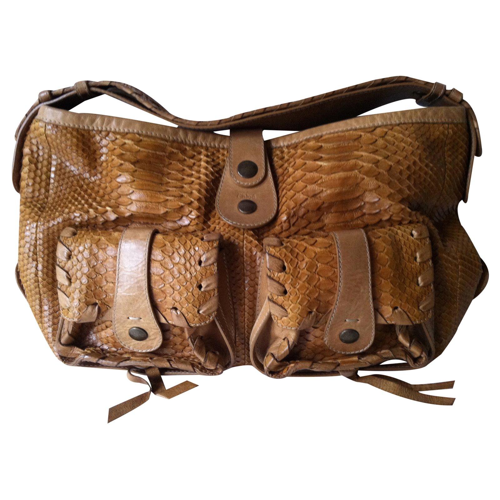 sacs main chlo chlo sac silverado en python couleur marron claire cuirs exotiques marron. Black Bedroom Furniture Sets. Home Design Ideas