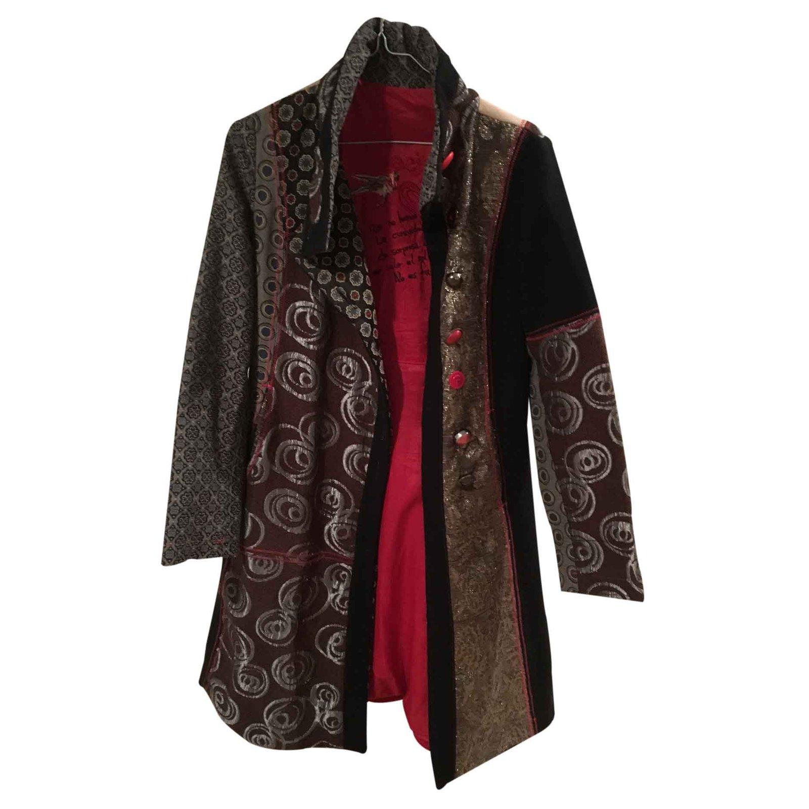 manteaux desigual manteau laine multicolore. Black Bedroom Furniture Sets. Home Design Ideas