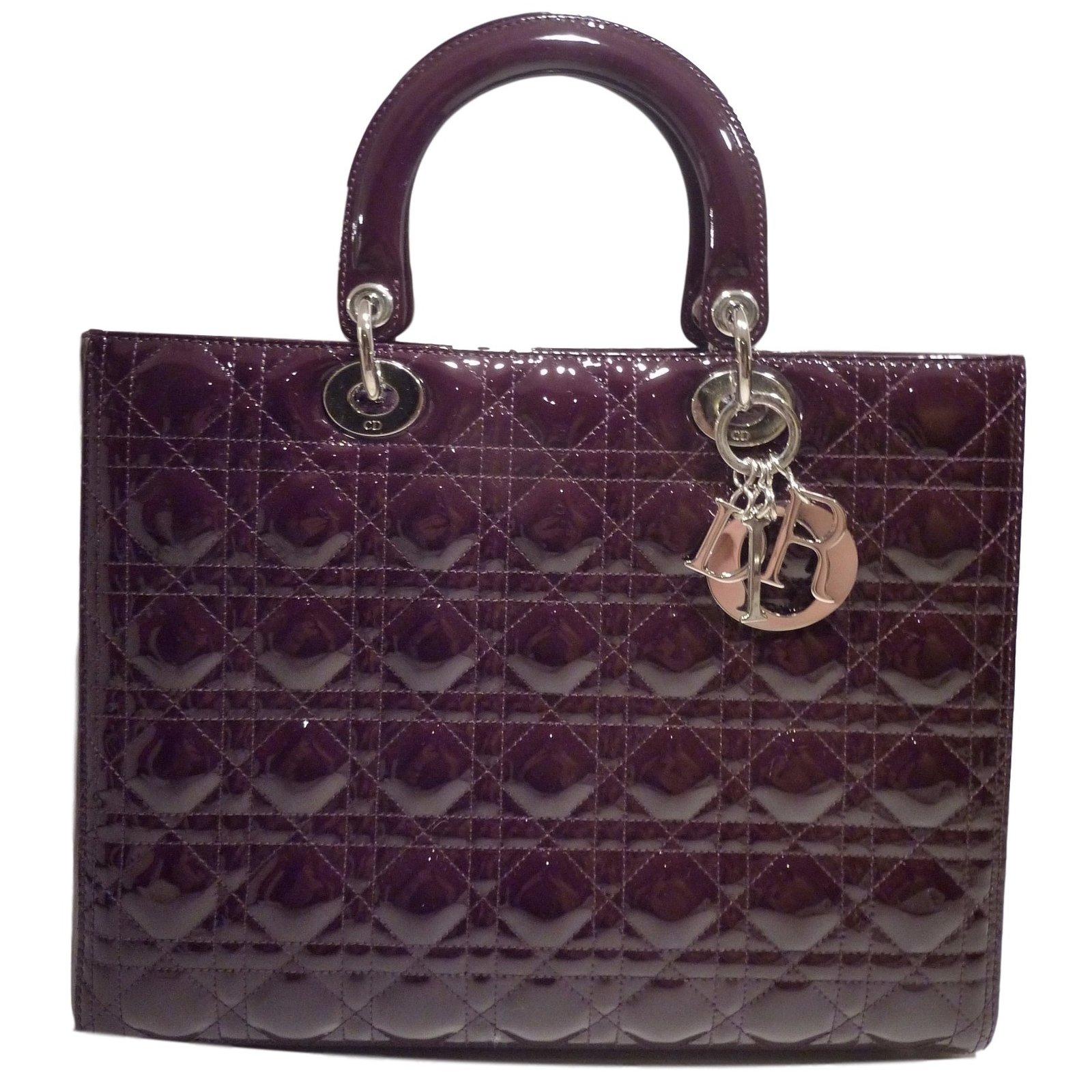 9781351c19d2 Sacs à main Dior lady dior Cuir vernis Violet ref.22739 - Joli Closet