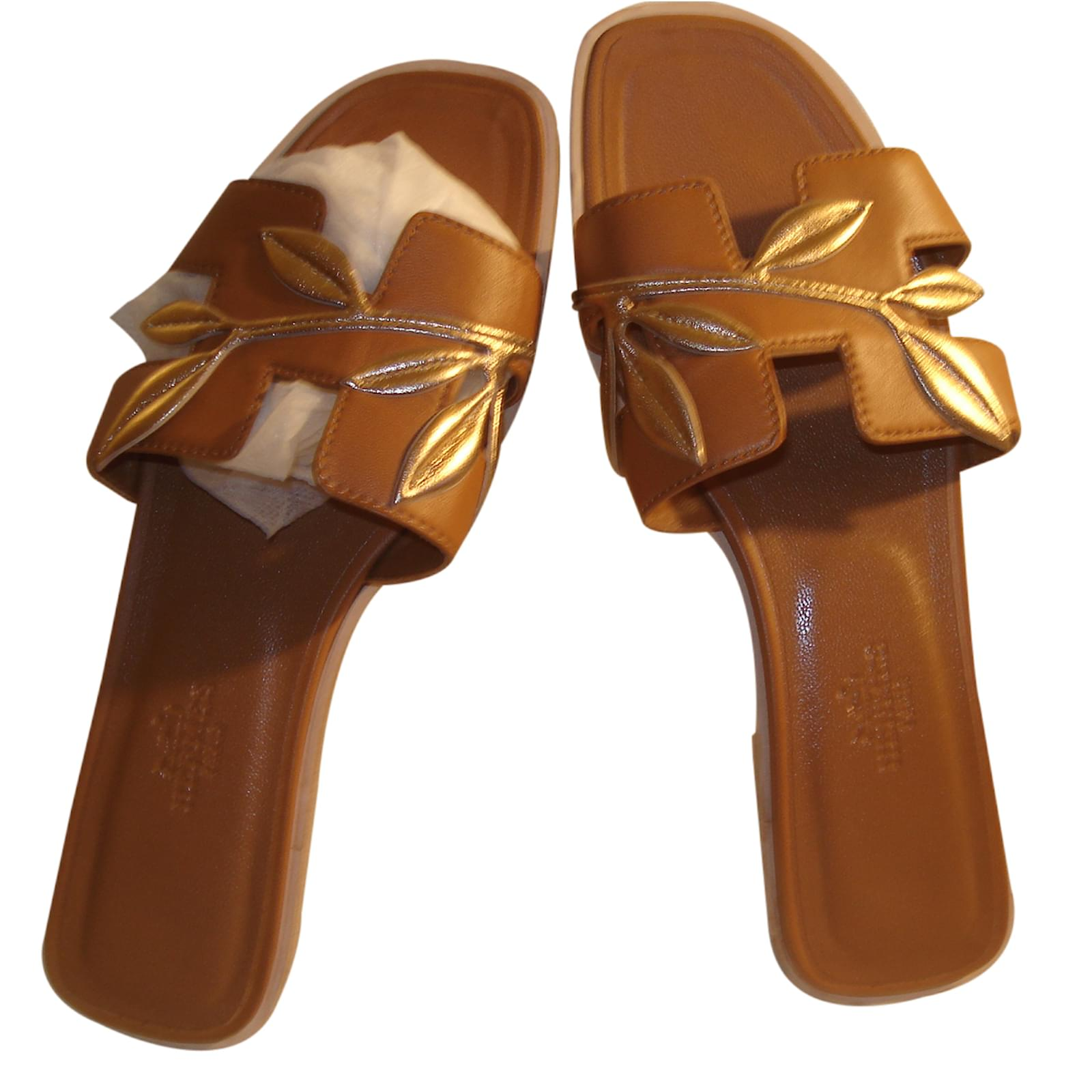 e21e8778edde Sandales Hermès Oran Cuir Marron ref.22793 - Joli Closet