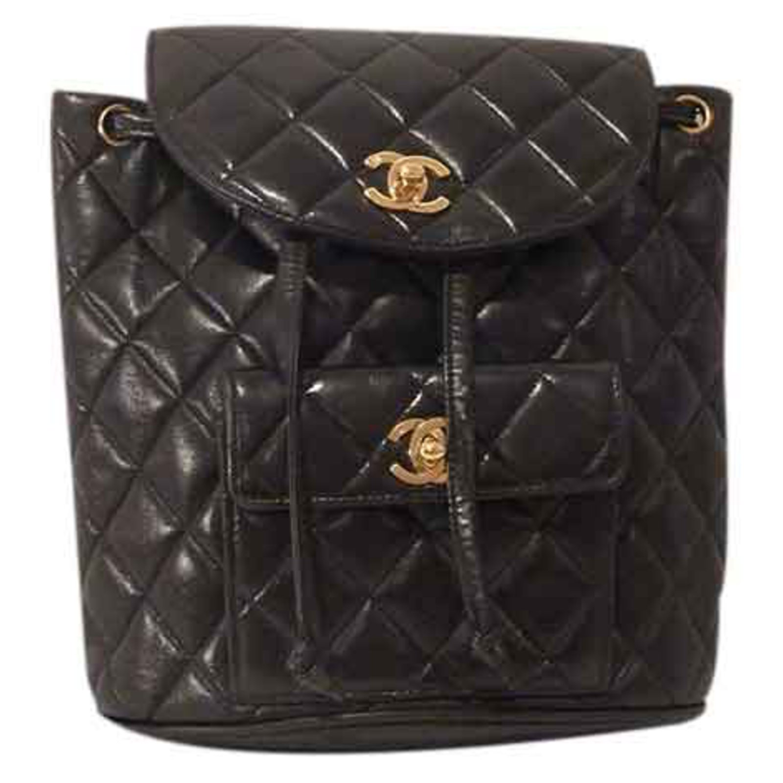 ff2975856d88 Chanel Chain Quilted Leather Backpack Backpacks Leather Black ref.22818