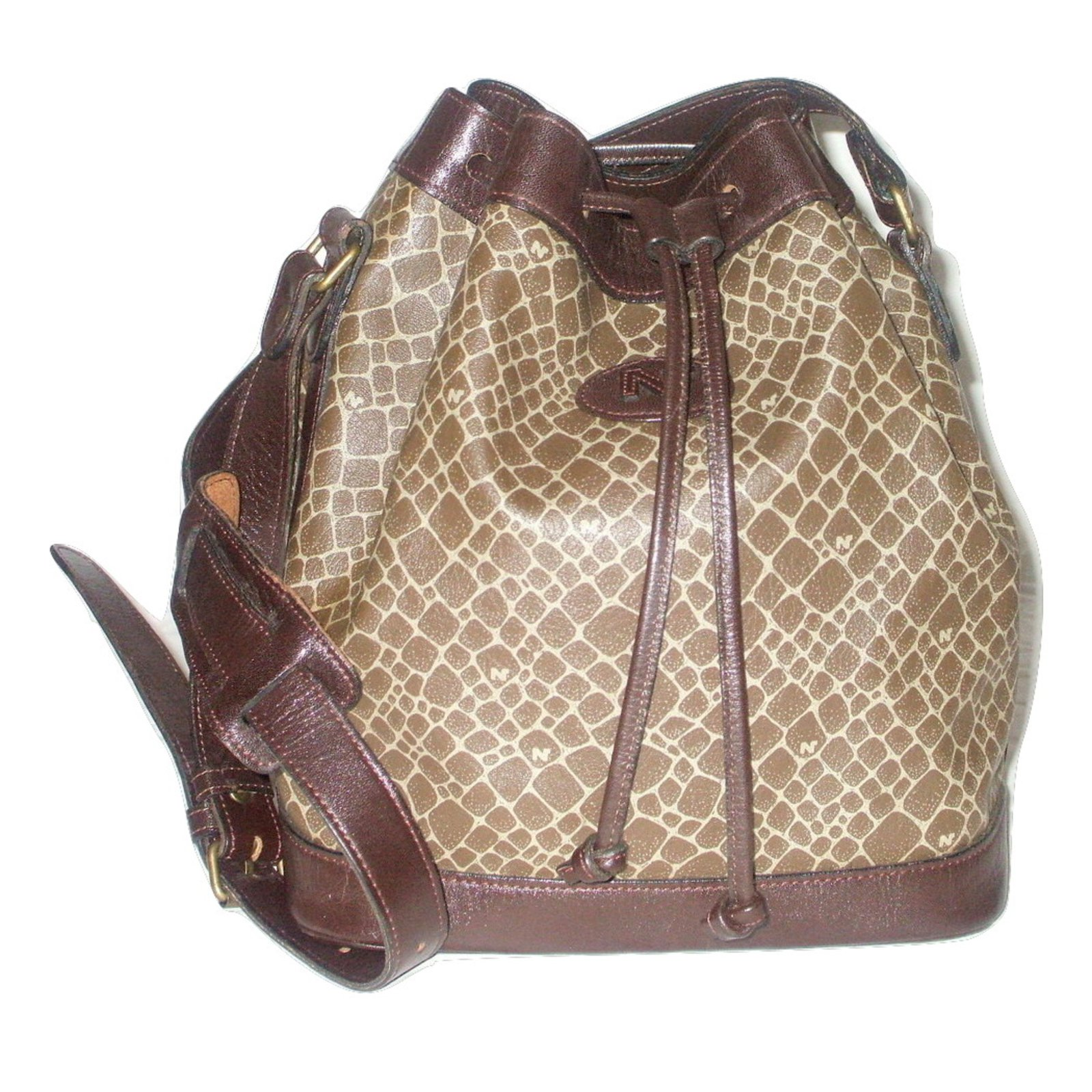 Nina Ricci Vintage Bucket Bag Handbags Synthetic Brown Ref 22891