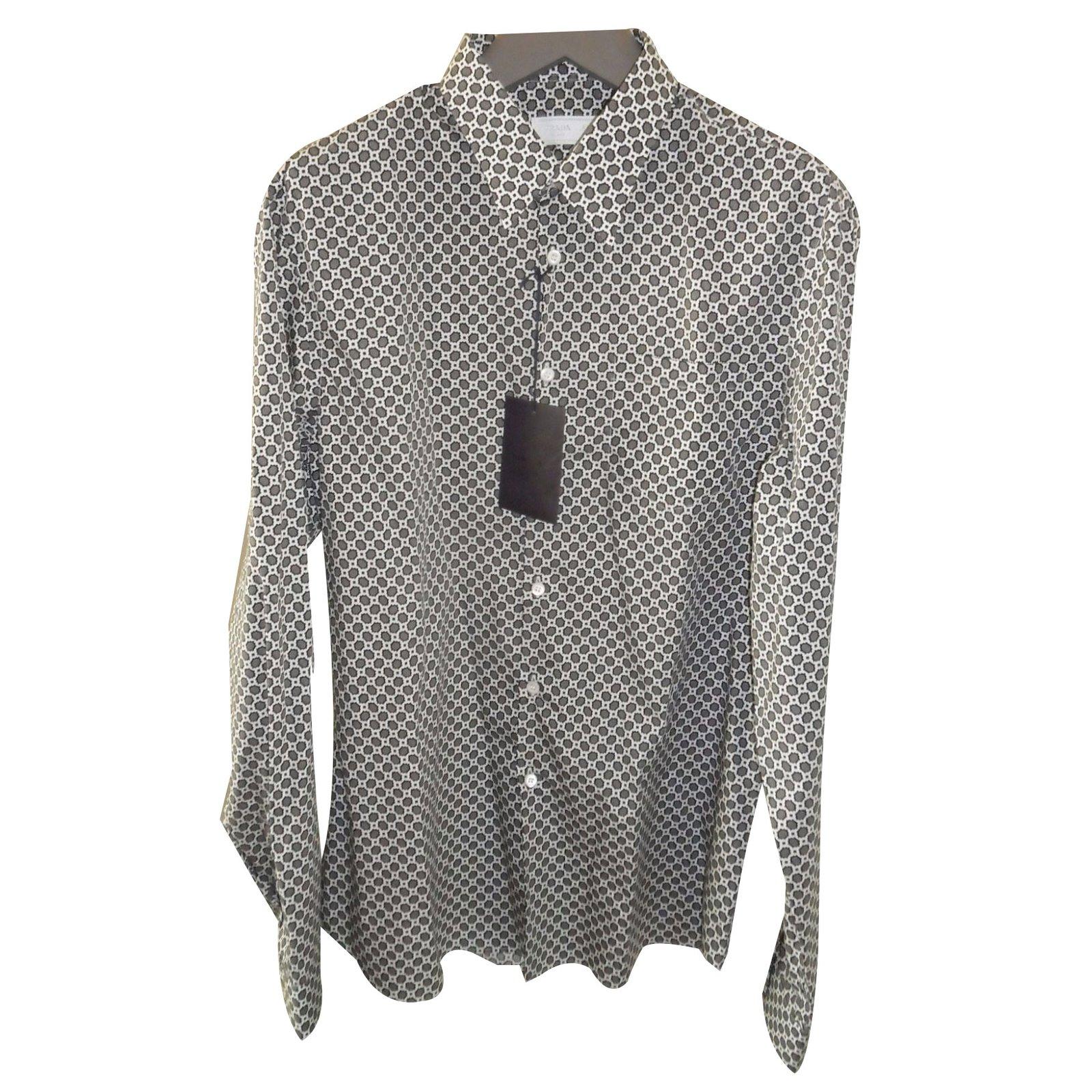 Prada Mens Dress Shirt Shirts Cotton Multiple Colors Ref23171