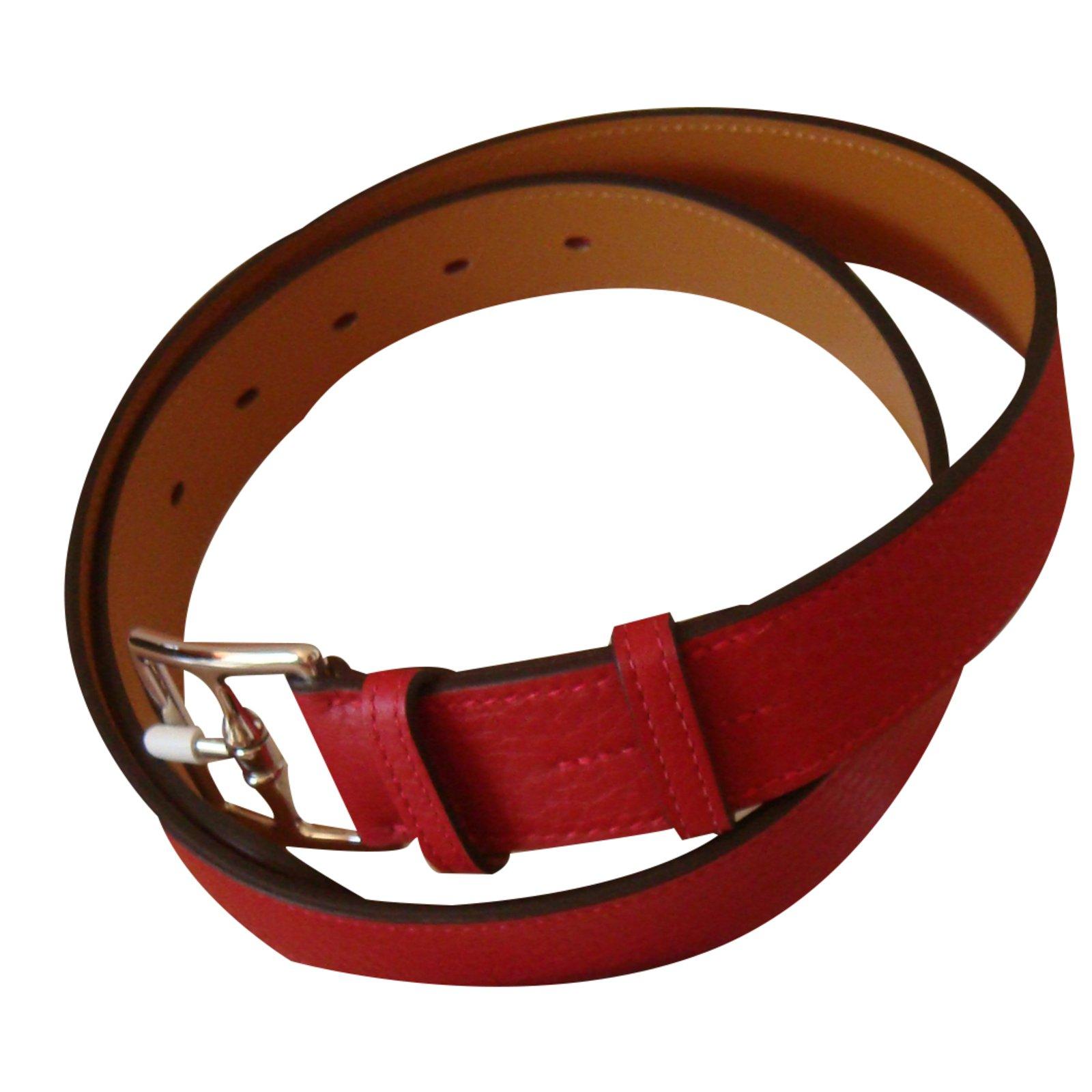 7a0dd6d0216d Ceintures Hermès Etrivière Cuir Rouge ref.23180 - Joli Closet