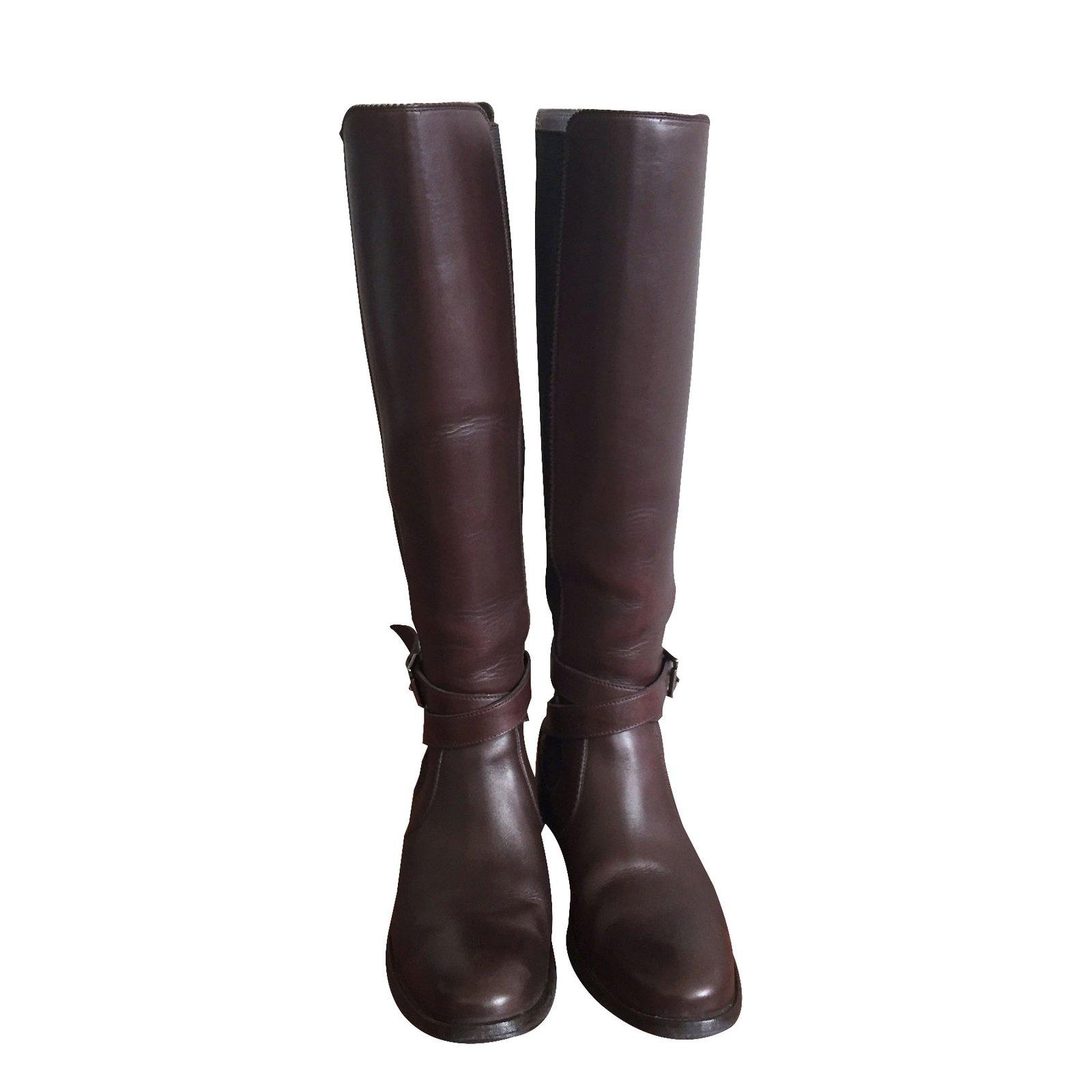 bottes heschung bottes cuir marron ref.23865 - joli closet