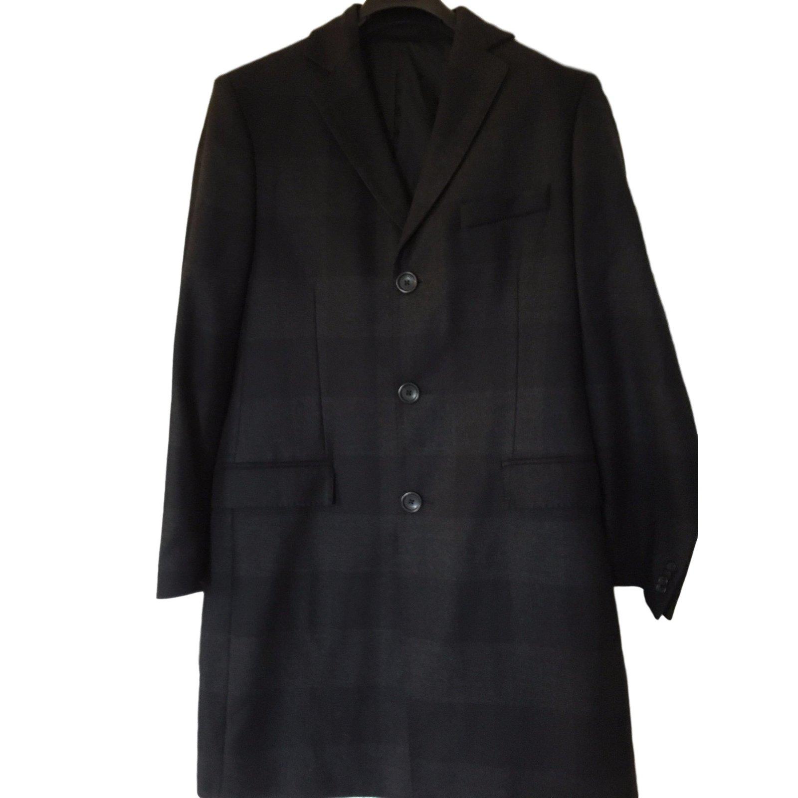 manteaux homme versace manteau homme laine noir joli closet. Black Bedroom Furniture Sets. Home Design Ideas