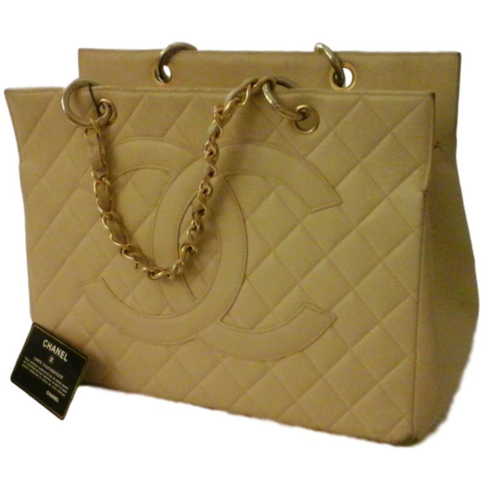 Chanel Handbag Handbags Leather Cream Ref 24375