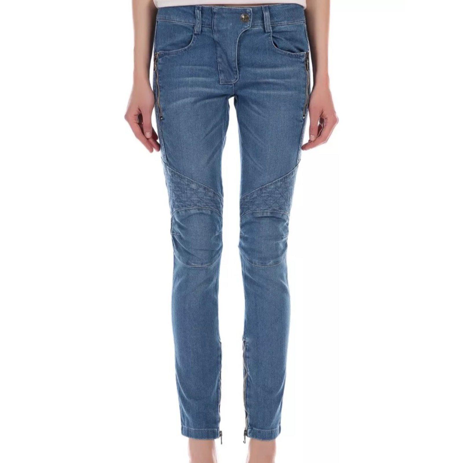 08b6467fe1976c Pierre Balmain Skinny biker jeans Jeans Cotton Blue ref.24589 - Joli ...