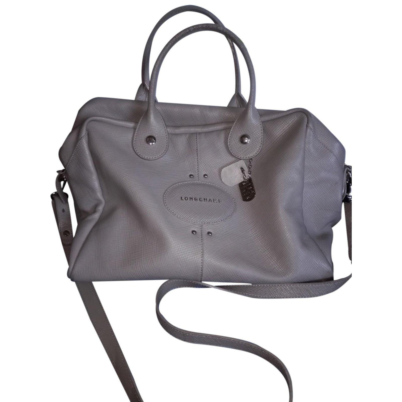Longchamp Quadri Handbags Leather Grey Ref 24761 Joli Closet
