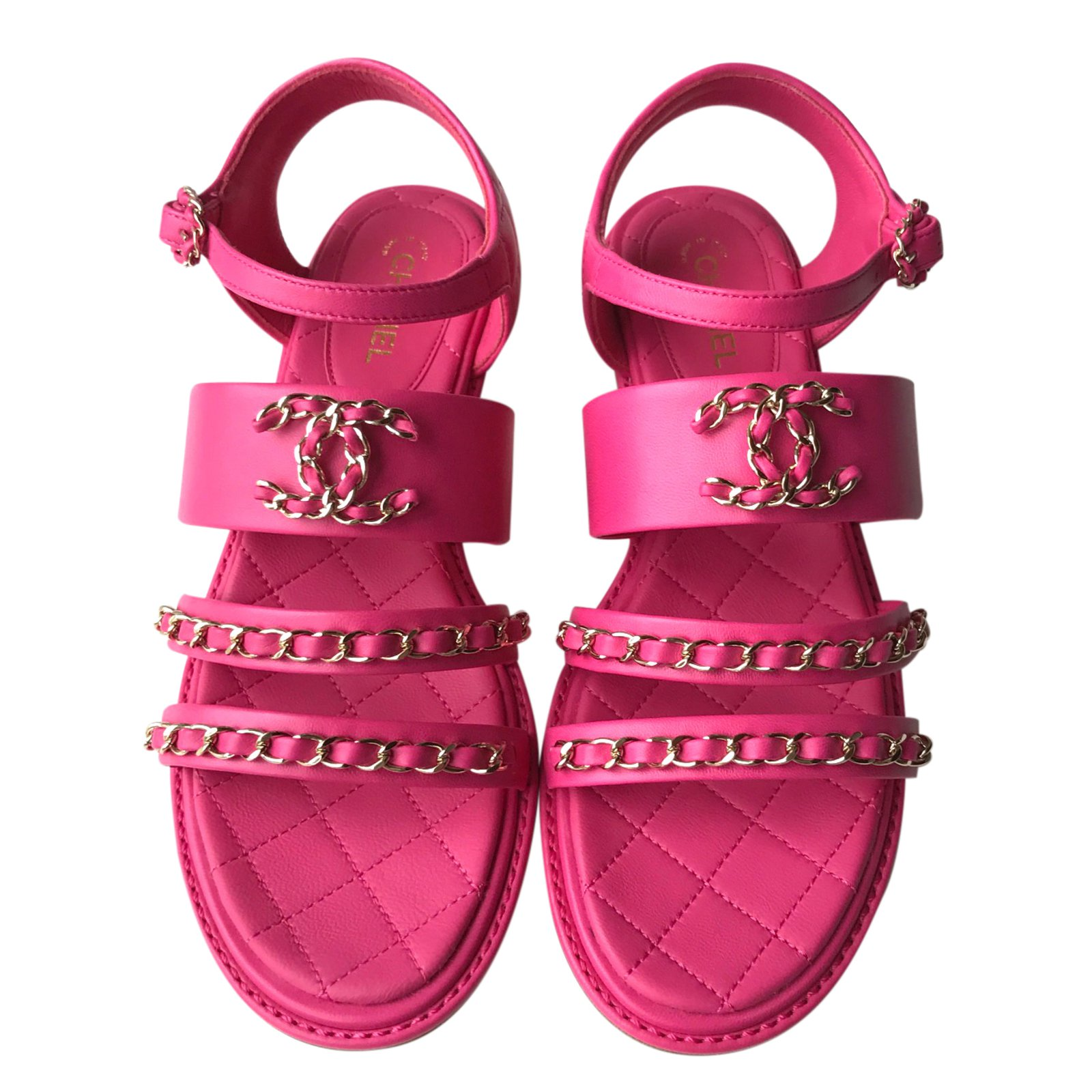 Chanel Sandals Sandals Leather Pink ref