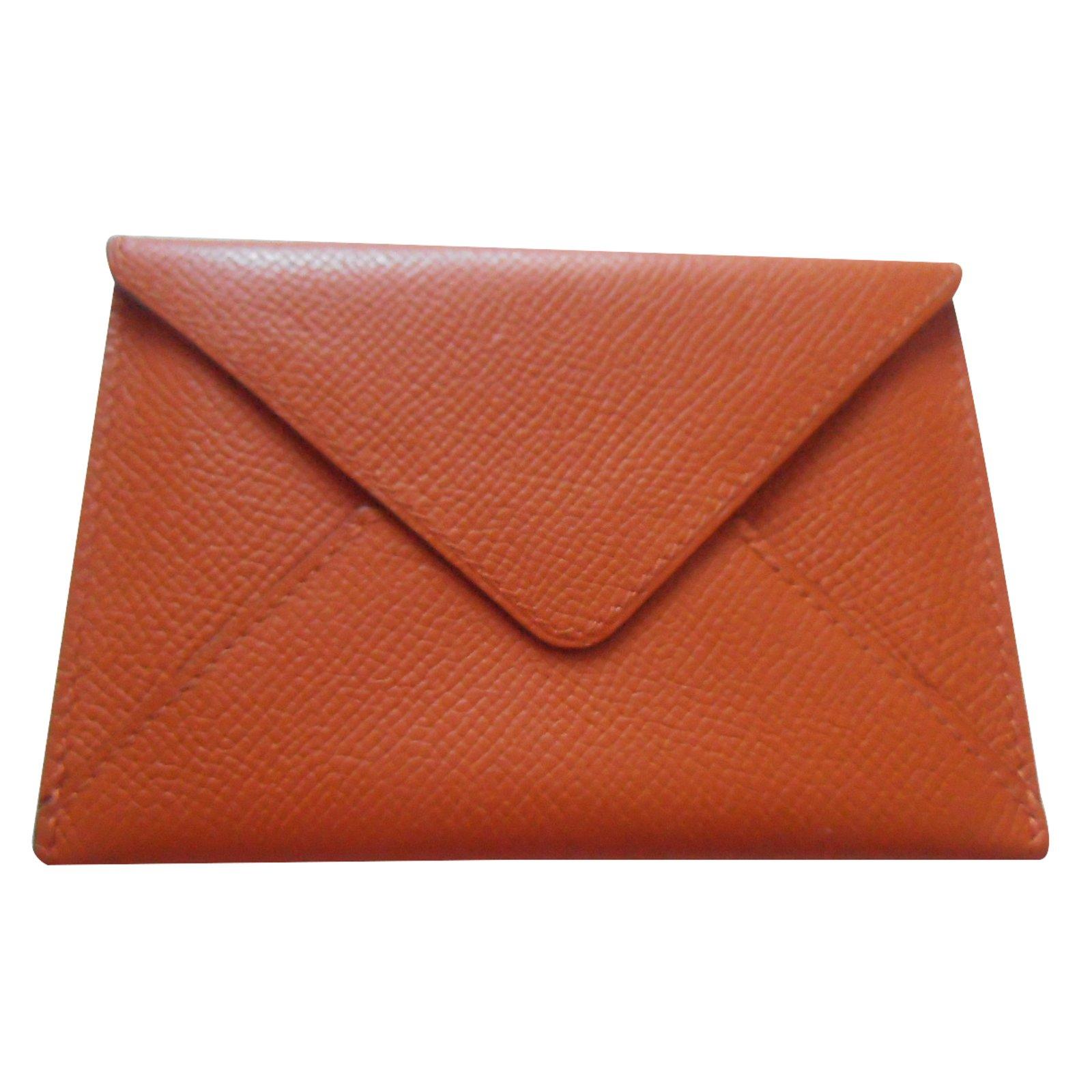 c8d472ef18 Petite maroquinerie Hermès porte carte envelopppe Cuir Orange ref.25041