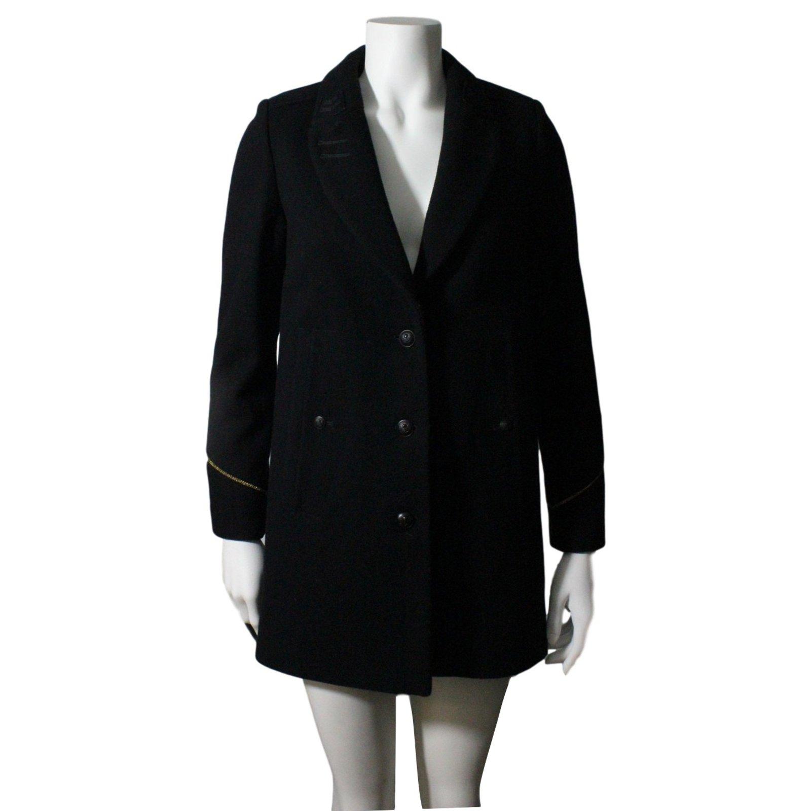 manteaux the kooples manteau style militaire laine noir. Black Bedroom Furniture Sets. Home Design Ideas