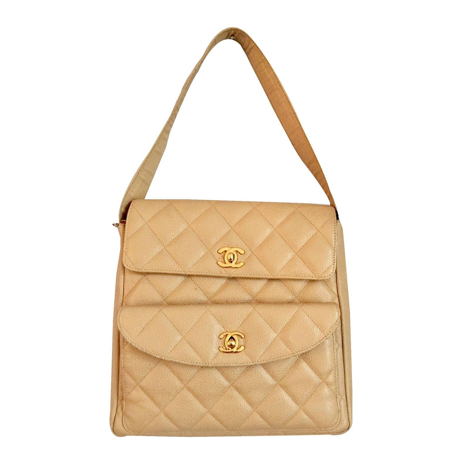 Sacs A Main Chanel Sac Matelasse Cuir Beige Ref 25365 Joli Closet