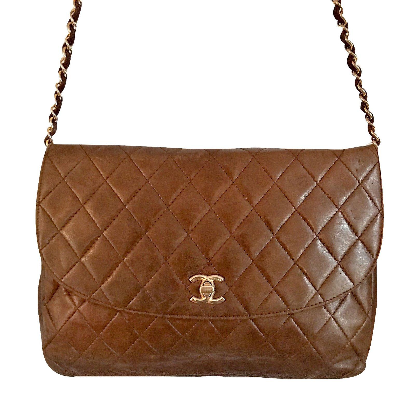 Sacs A Main Chanel Sac Matelasse Cuir Marron Ref 25368 Joli Closet