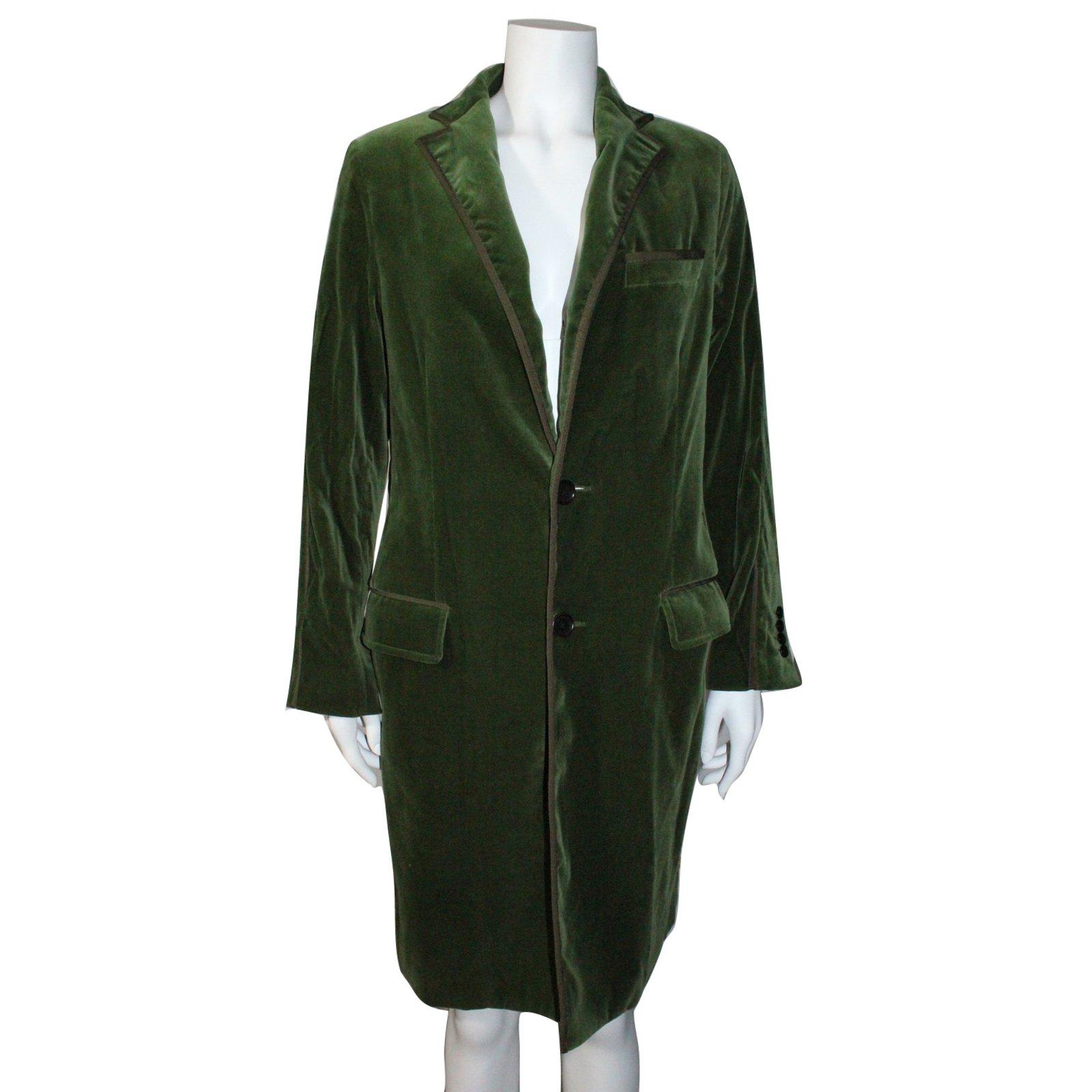 manteaux etro manteau velours coton vert joli. Black Bedroom Furniture Sets. Home Design Ideas