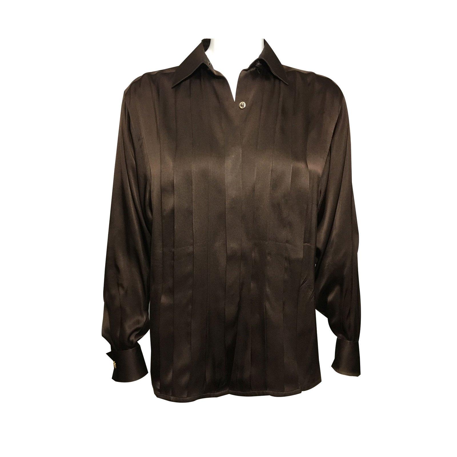 tops chanel chemise bouton manchette soie chocolat ref. Black Bedroom Furniture Sets. Home Design Ideas