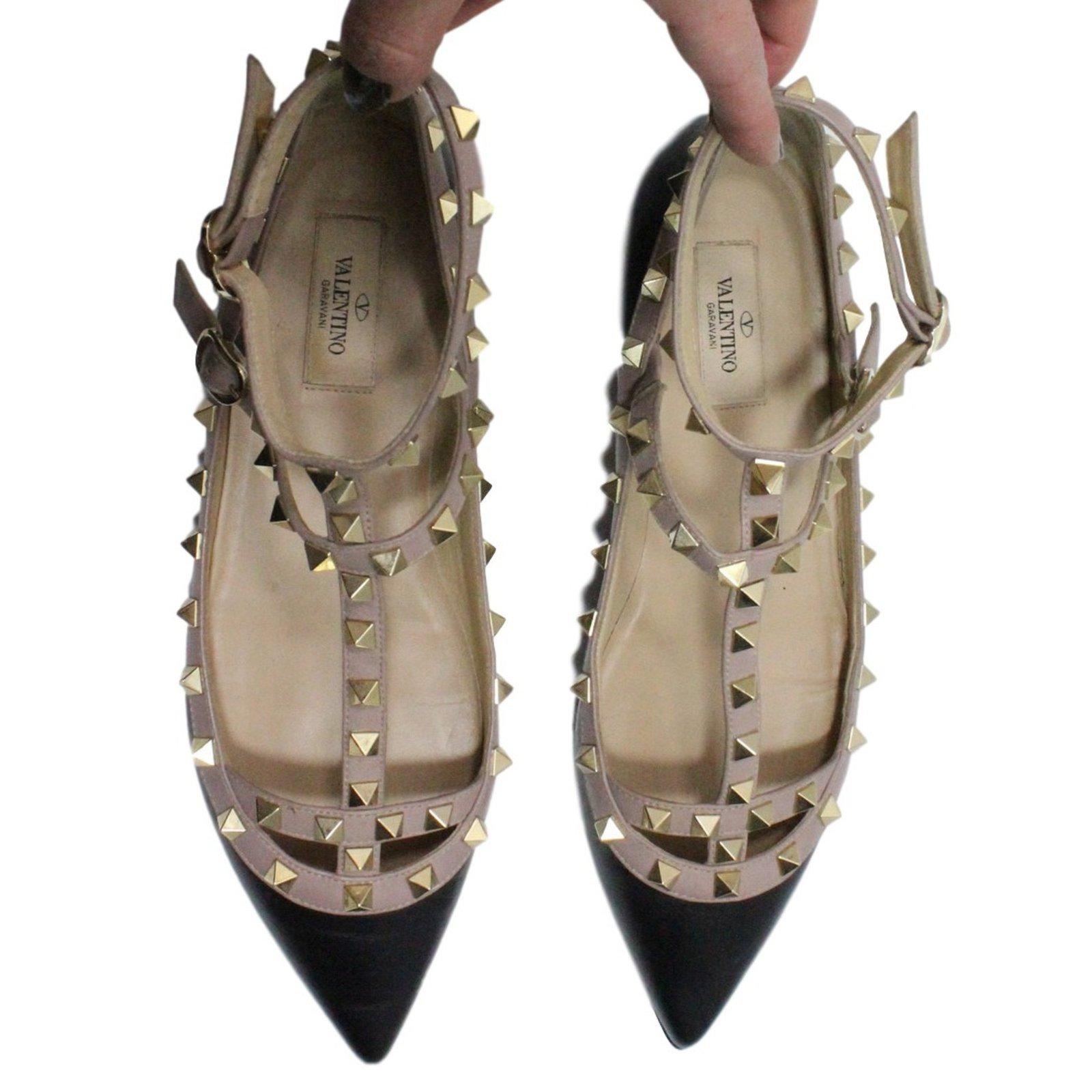 fabriksgiltig gratis frakt nya utgåvan Valentino Ballerina flats Ballet flats Leather Black ref.25888 ...