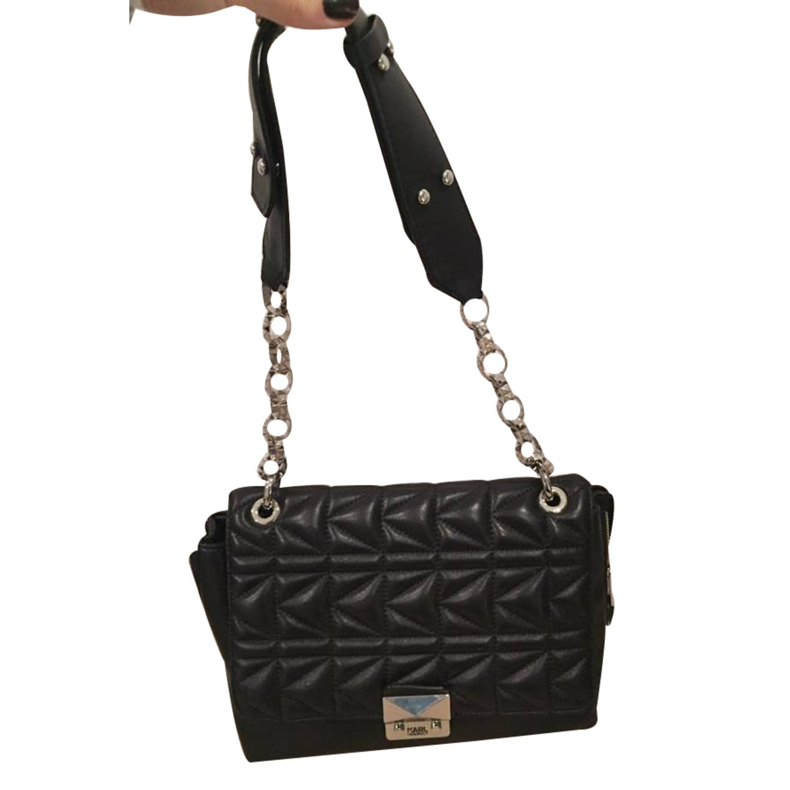 Karl Lagerfeld Handbag Handbags Leather Black Ref 26220