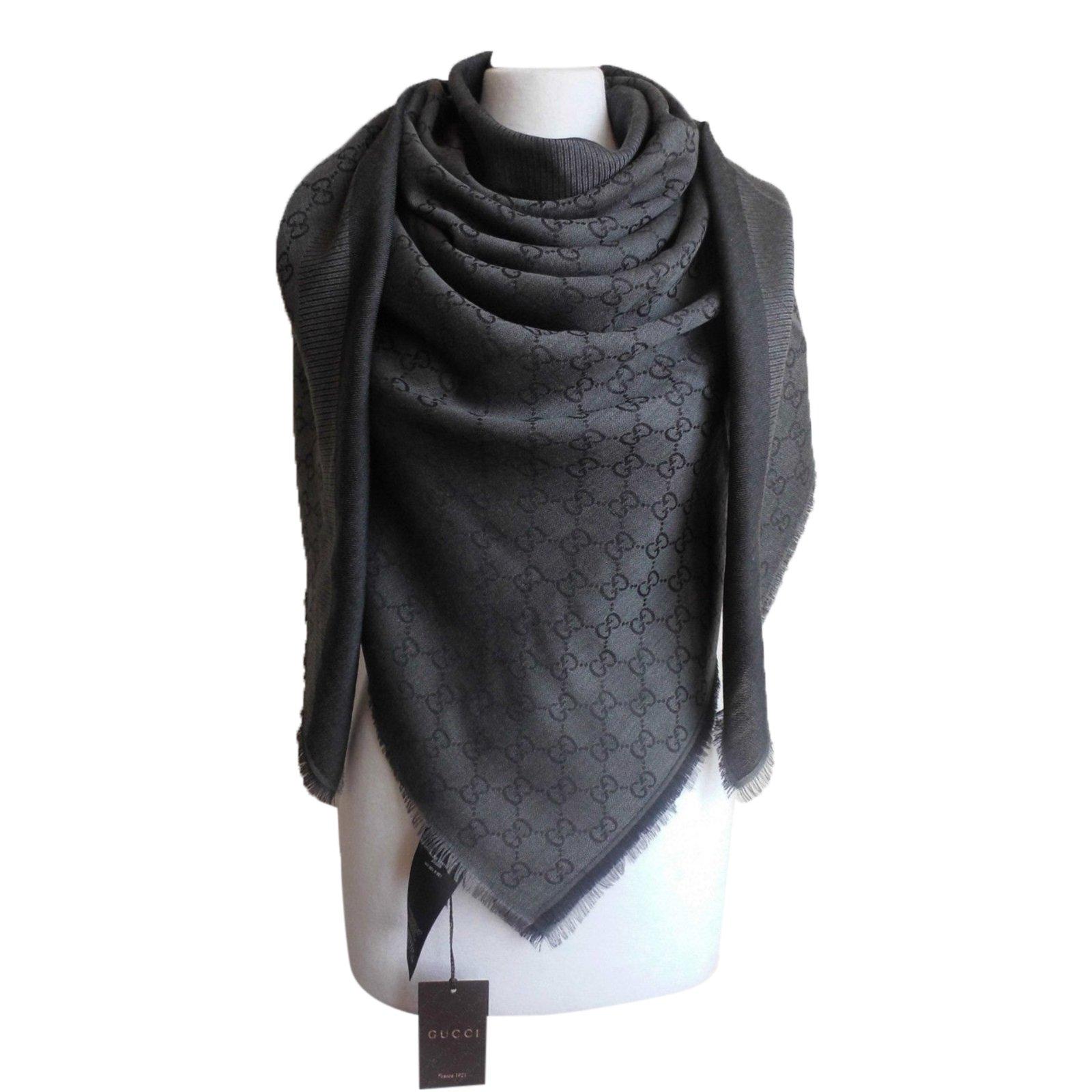 72ef4795239a Gucci scarf ggweb scarves wool grey ref joli closet jpg 1600x1600 Gucci  scarf shawl