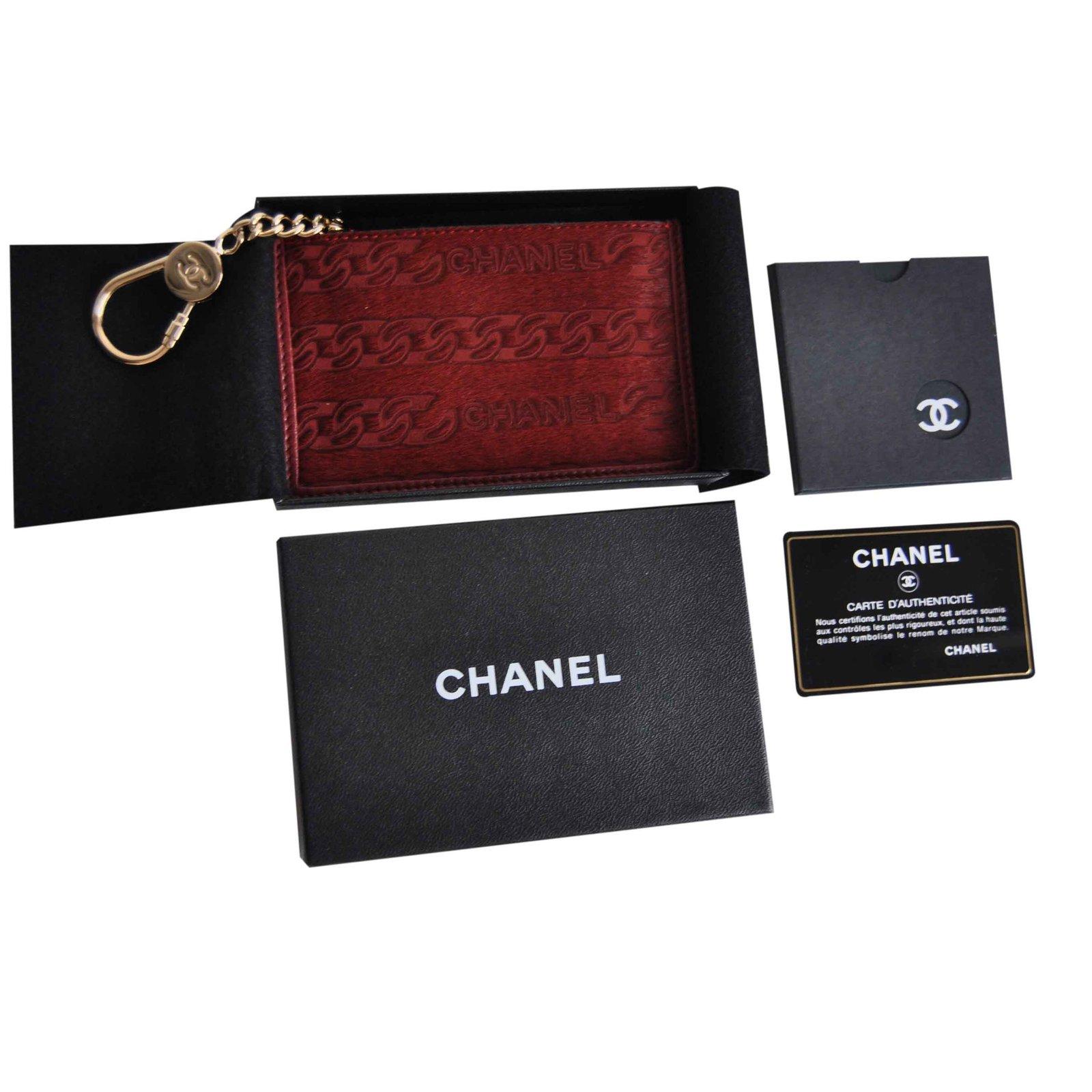 5e24a956917f petite maroquinerie chanel porte monnaie et porte cl cuir rouge joli closet