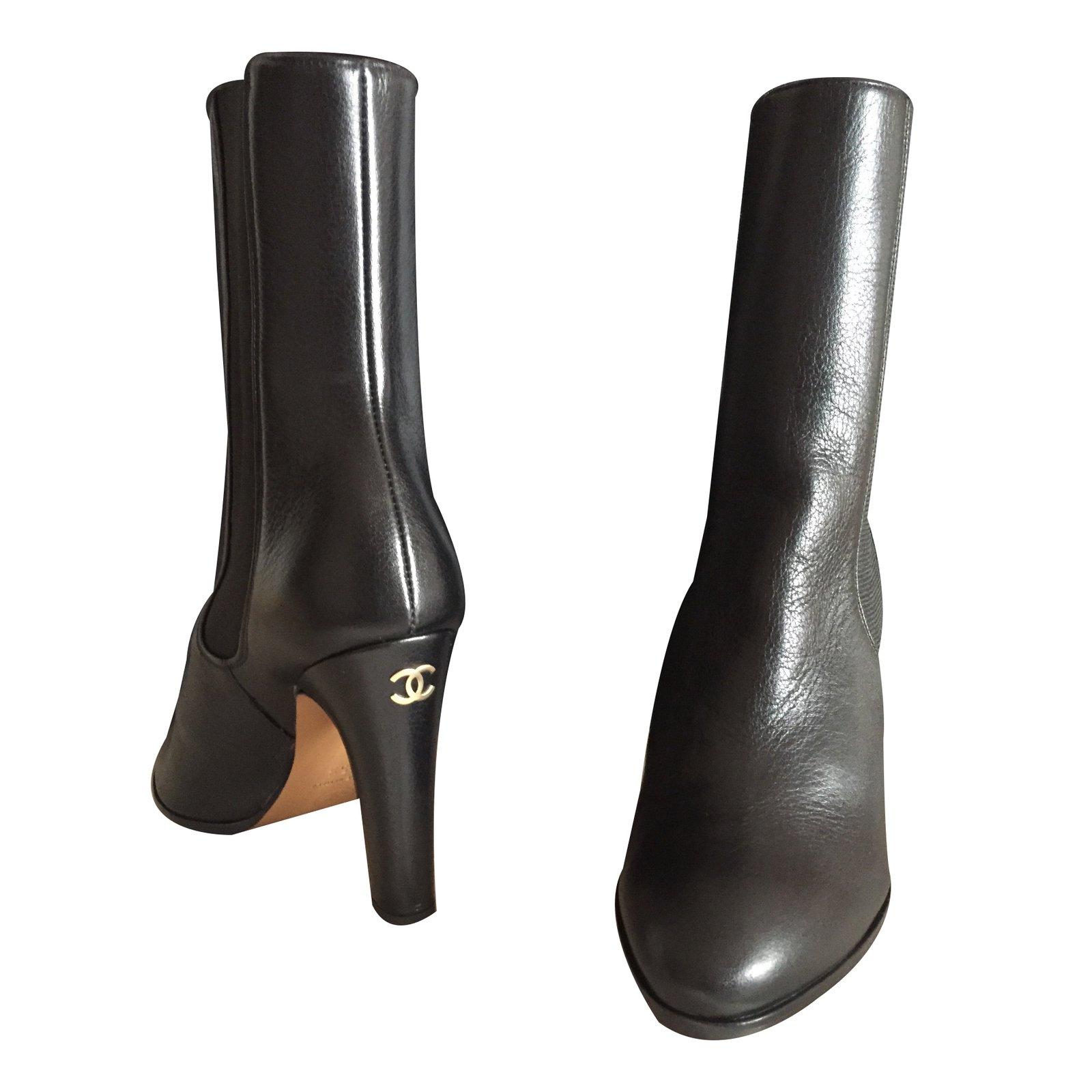 Bottes Chanel Bottes Cuir Noir ref.26754 - Joli Closet 80a7f029d20