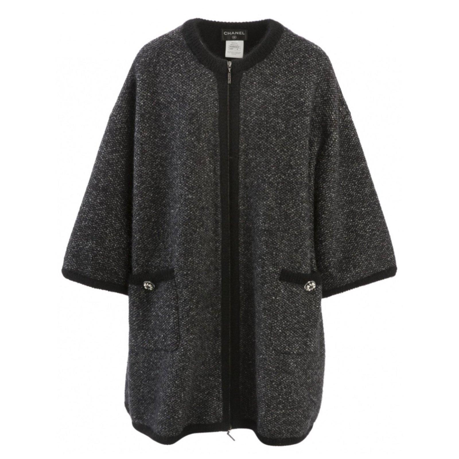 manteaux chanel manteau cachemire 2015 2016 laine gris anthracite joli closet. Black Bedroom Furniture Sets. Home Design Ideas