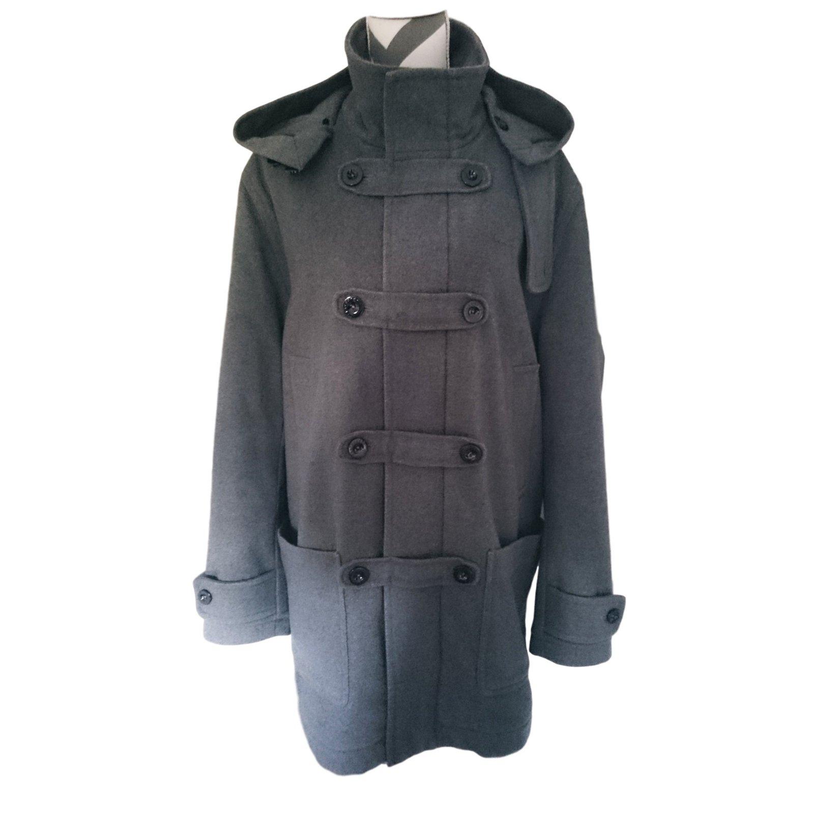 manteaux homme lacoste manteau duffle coat laine gris ref. Black Bedroom Furniture Sets. Home Design Ideas