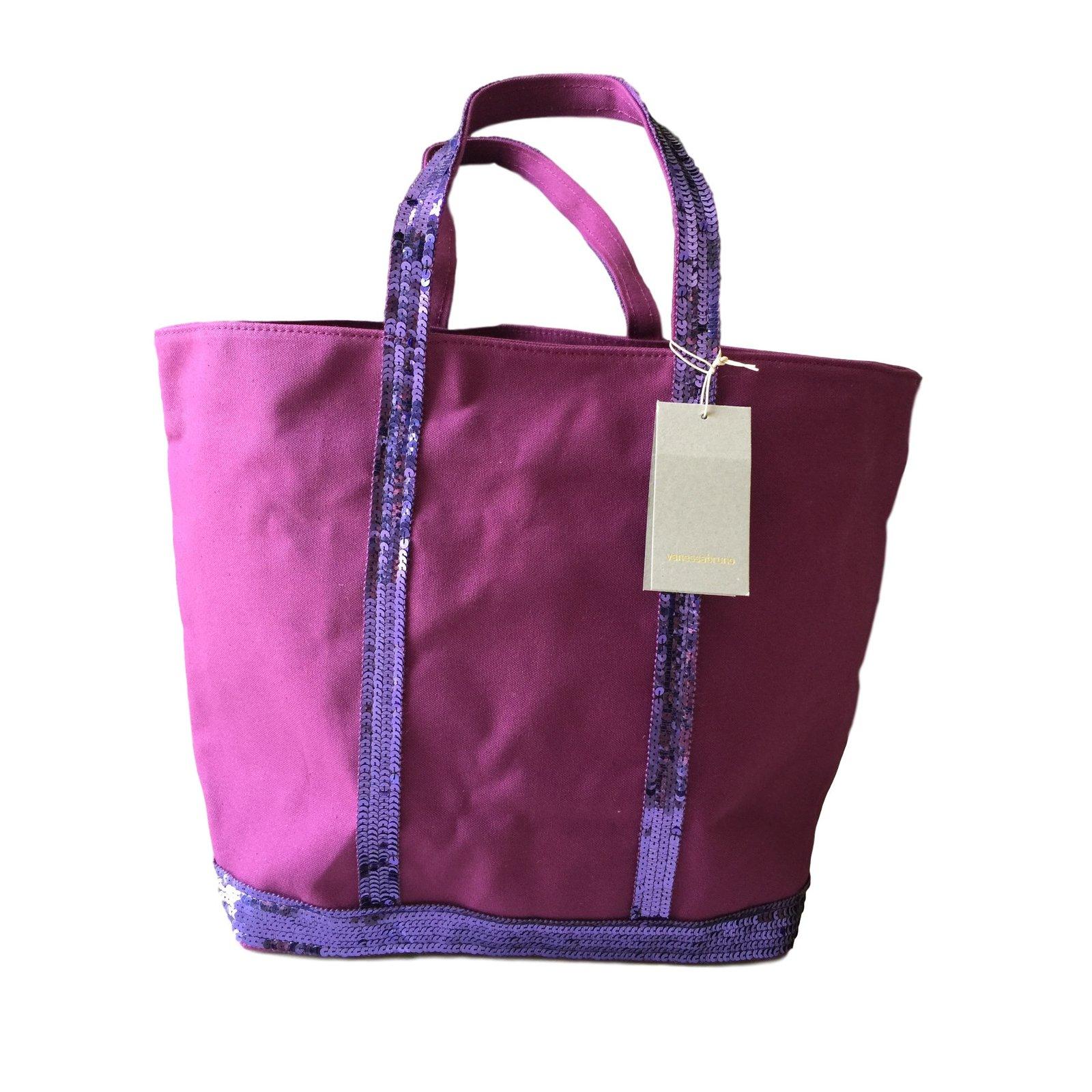 sacs main vanessa bruno cabas moyen toile et paillettes avec zip coton violet. Black Bedroom Furniture Sets. Home Design Ideas