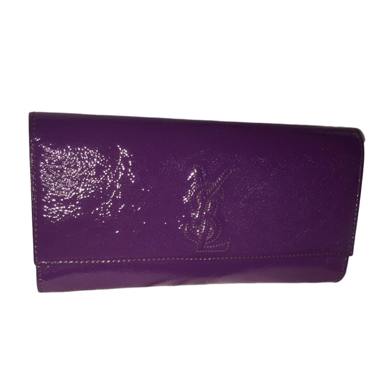 Yves Saint Laurent BELLE DE JOUR Clutch bags Patent leather Purple ref.26849 c3e96ea7df14a