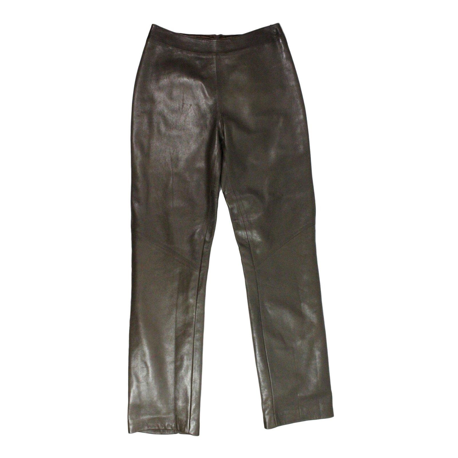 gucci pants. gucci leather trousers pants, leggings brown ref.26942 pants